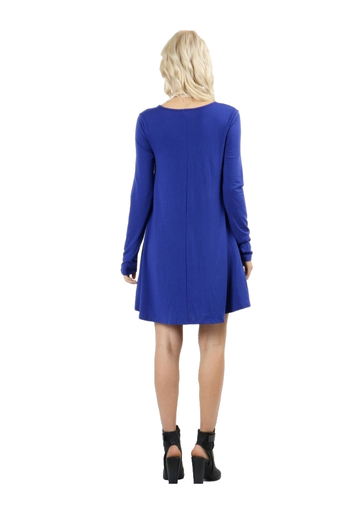 RS9921P-Women-039-s-Long-Sleeve-Flare-Hem-Loose-Fit-Round-Neck-Dress-Tunic-Top thumbnail 27