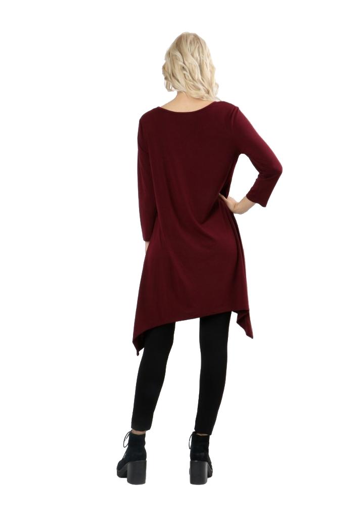 RT9961-Women-s-3-4-Sleeve-Sharkbite-Asymmetrical-Hem-Trapeze-Dress-Tunic-Top thumbnail 12