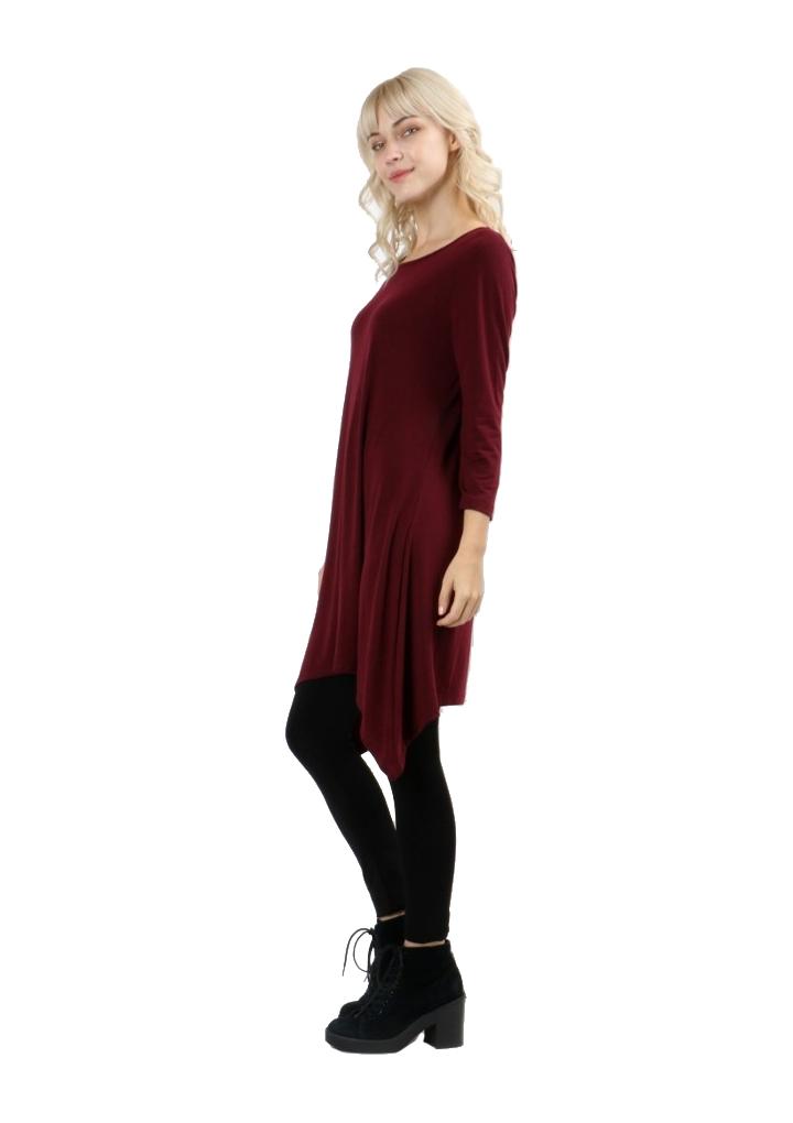 RT9961-Women-s-3-4-Sleeve-Sharkbite-Asymmetrical-Hem-Trapeze-Dress-Tunic-Top thumbnail 11