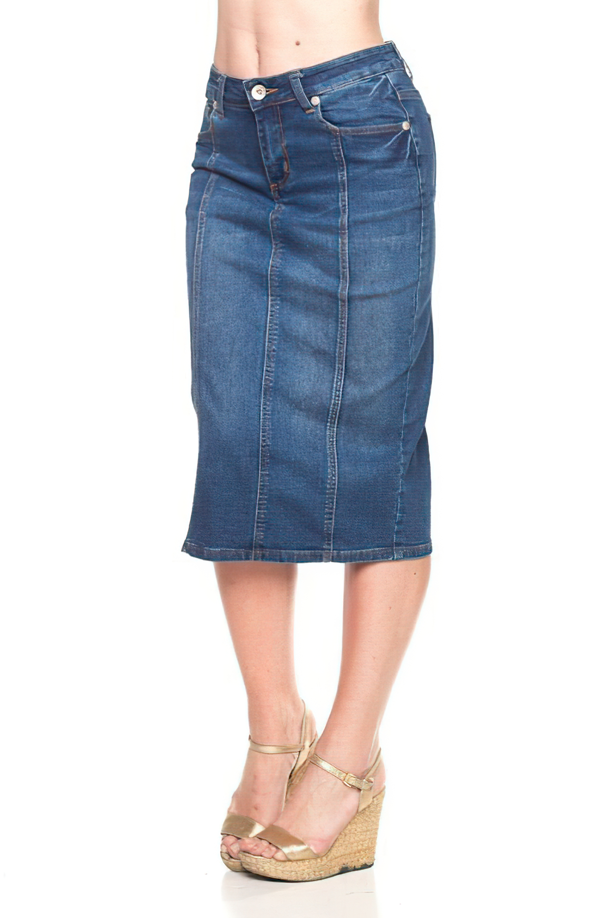 Women/'s Juniors//Plus Size Middle Length Pencil Distressed Stretch Denim Skirt