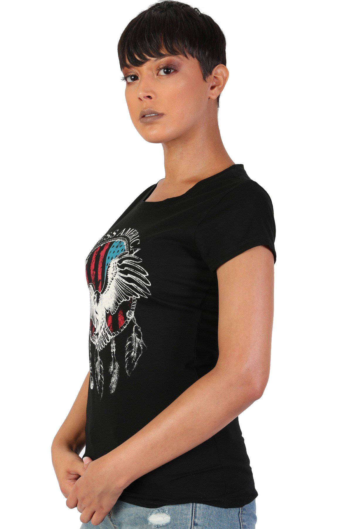 Women-039-s-Juniors-Patriotic-Casual-Graphic-Print-Short-Sleeve-T-Shirt-Top thumbnail 6