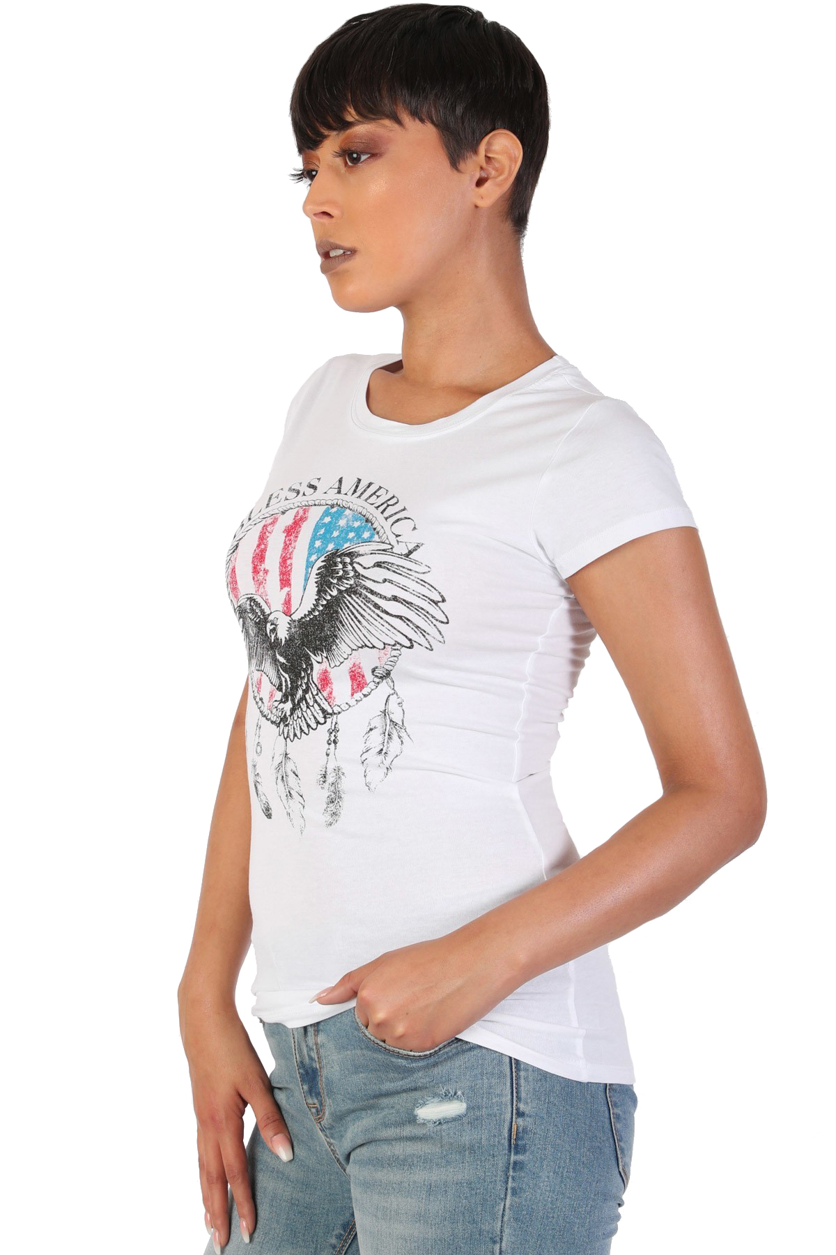 Women-039-s-Juniors-Patriotic-Casual-Graphic-Print-Short-Sleeve-T-Shirt-Top thumbnail 11