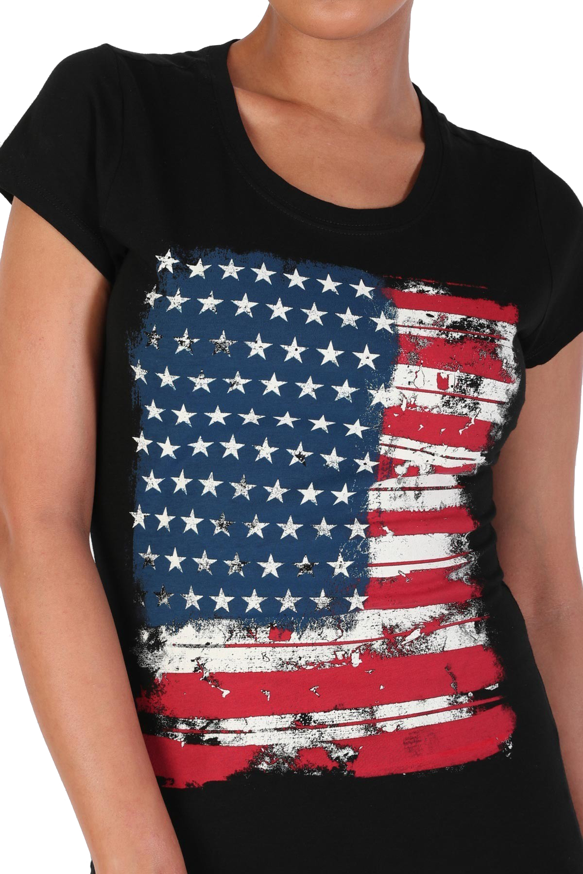 Women-039-s-Juniors-Patriotic-Casual-Graphic-Print-Short-Sleeve-T-Shirt-Top miniature 5