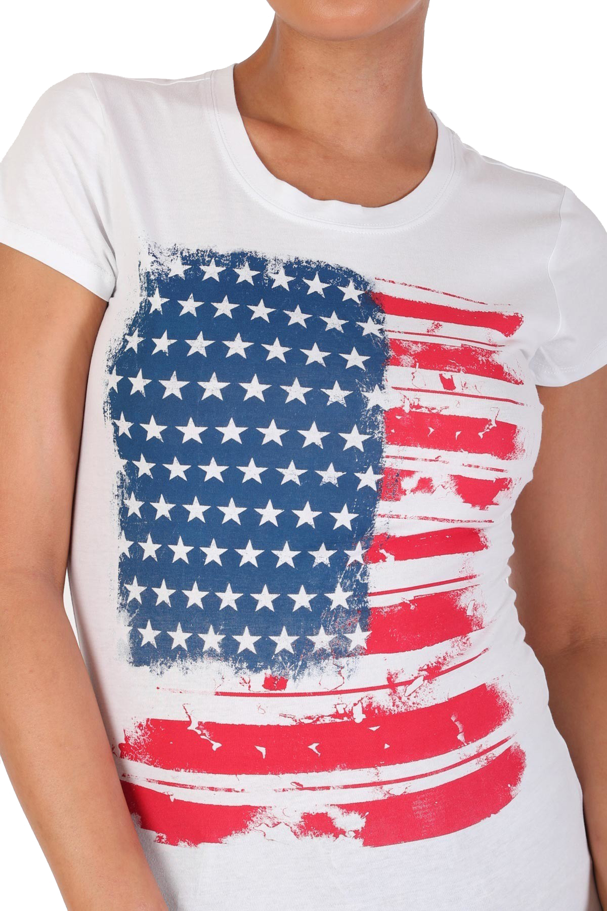 Women-039-s-Juniors-Patriotic-Casual-Graphic-Print-Short-Sleeve-T-Shirt-Top miniature 10