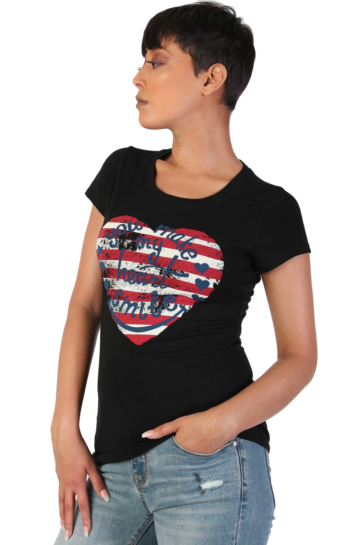 Women-039-s-Juniors-Patriotic-Casual-Graphic-Print-Short-Sleeve-T-Shirt-Top thumbnail 6