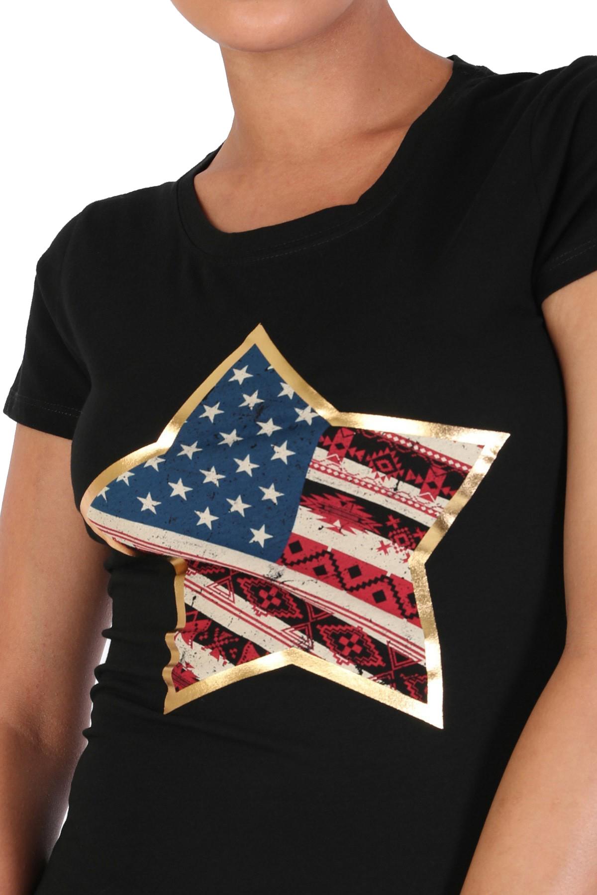 Women-039-s-Juniors-Patriotic-Casual-Graphic-Print-Short-Sleeve-T-Shirt-Top thumbnail 5