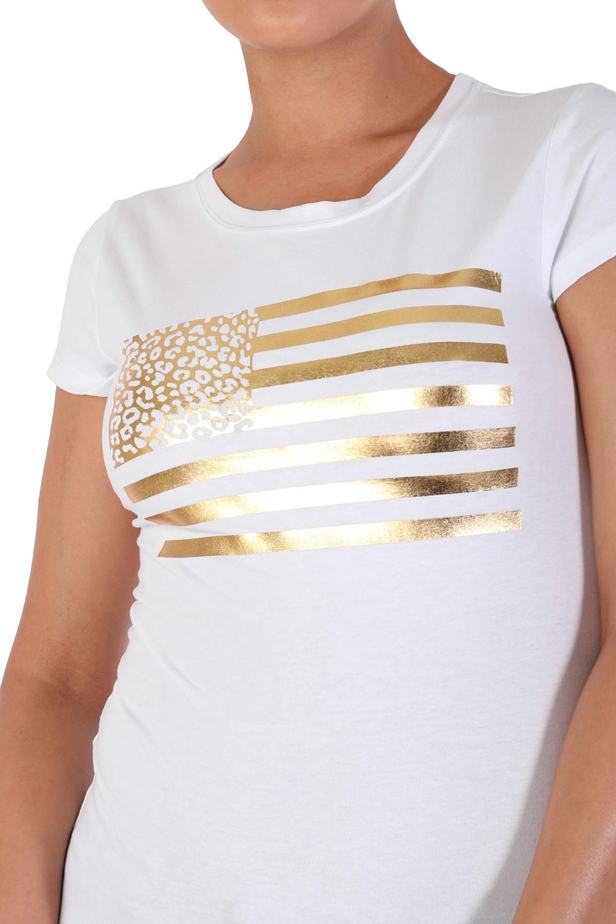 Women-039-s-Juniors-Patriotic-Casual-Graphic-Print-Short-Sleeve-T-Shirt-Top thumbnail 10