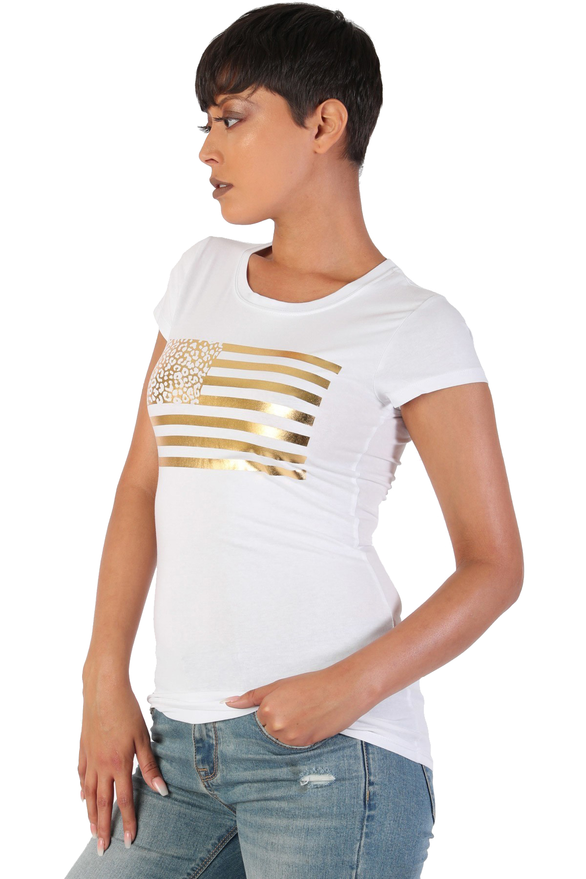 Women-039-s-Juniors-Patriotic-Casual-Graphic-Print-Short-Sleeve-T-Shirt-Top thumbnail 11