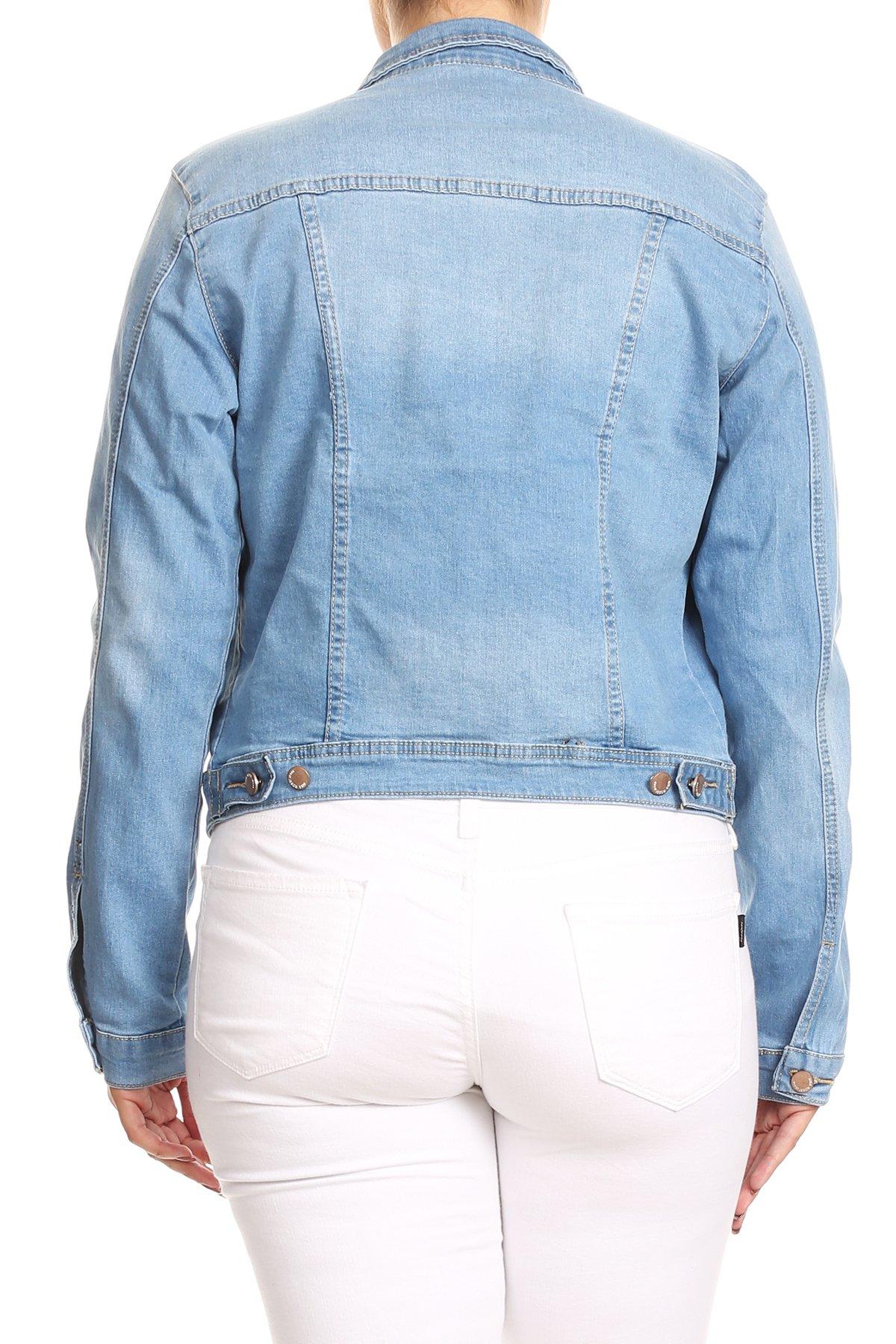 JKT102PS-Women-039-s-Plus-Size-Premium-Denim-Jackets-Long-Sleeve-Loose-Jean-Coats thumbnail 9