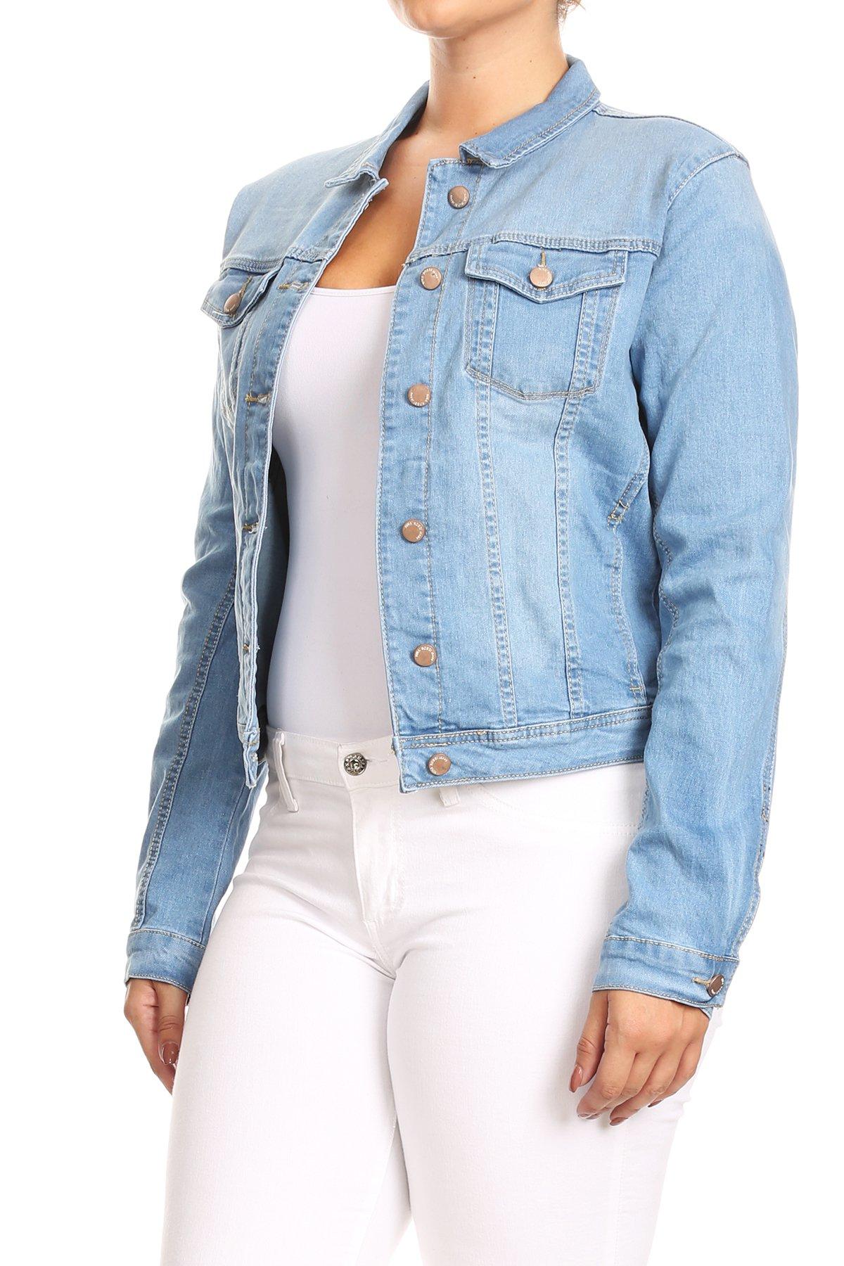 JKT102PS-Women-039-s-Plus-Size-Premium-Denim-Jackets-Long-Sleeve-Loose-Jean-Coats thumbnail 7