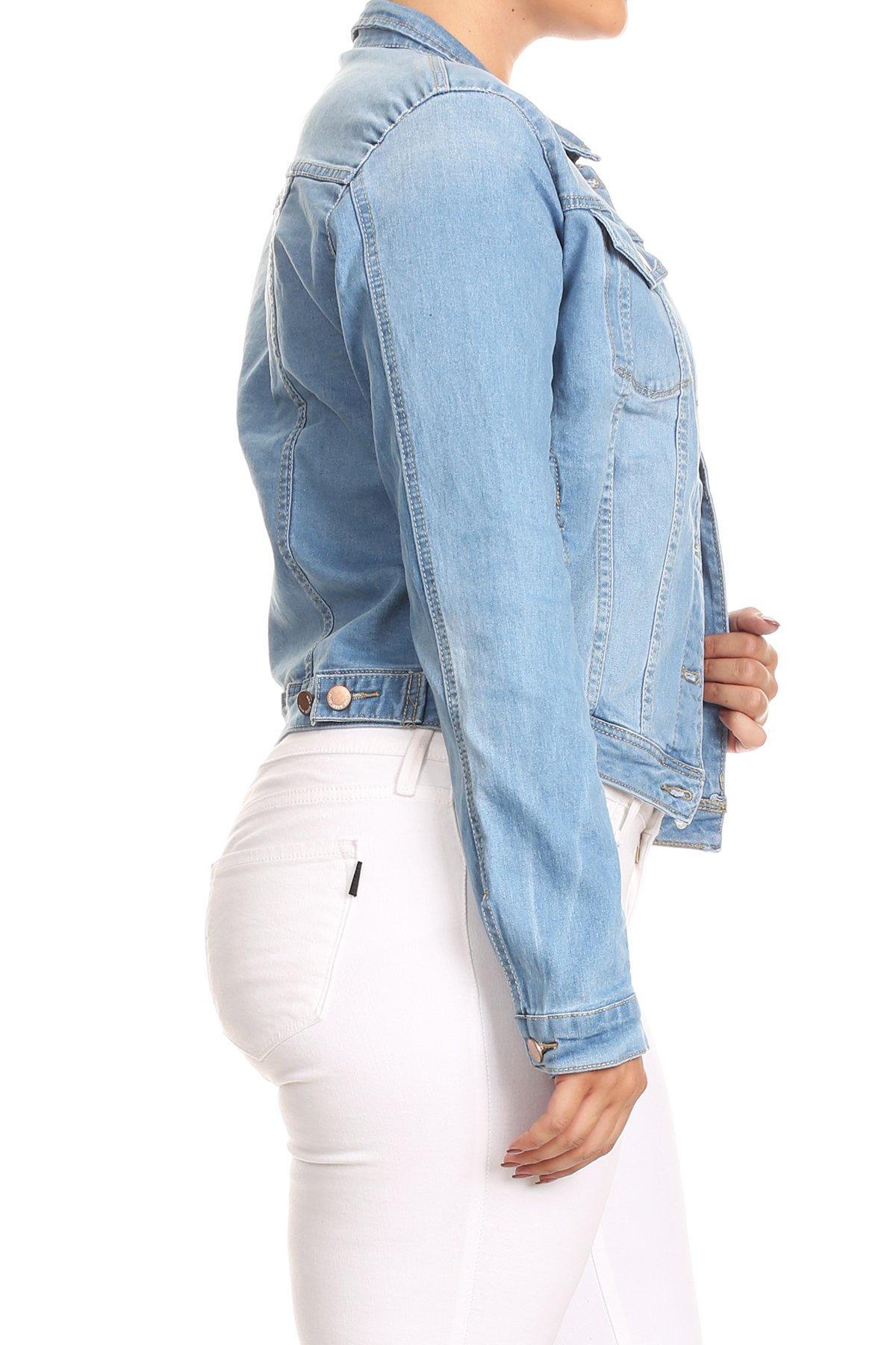 JKT102PS-Women-039-s-Plus-Size-Premium-Denim-Jackets-Long-Sleeve-Loose-Jean-Coats thumbnail 8