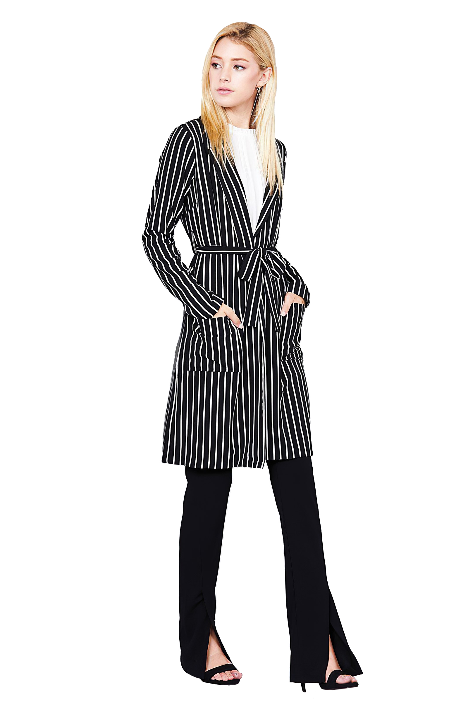 Women-039-s-Juniors-Premium-Stretch-Striped-Long-Sleeve-Long-Jacket thumbnail 7