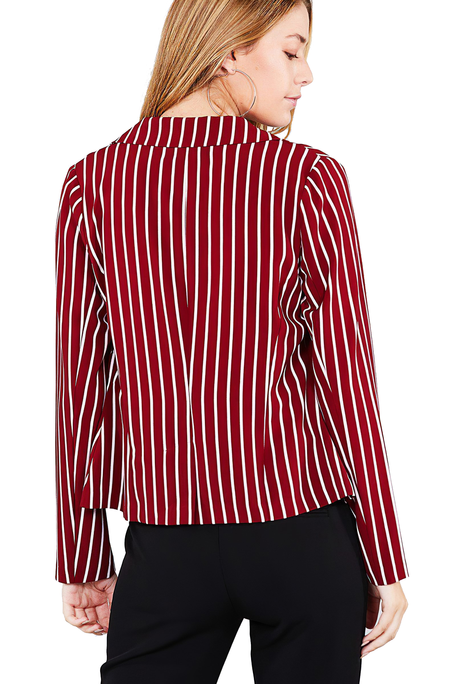 Women-039-s-Juniors-Premium-Stretch-Striped-Long-Sleeve-Jacket thumbnail 15