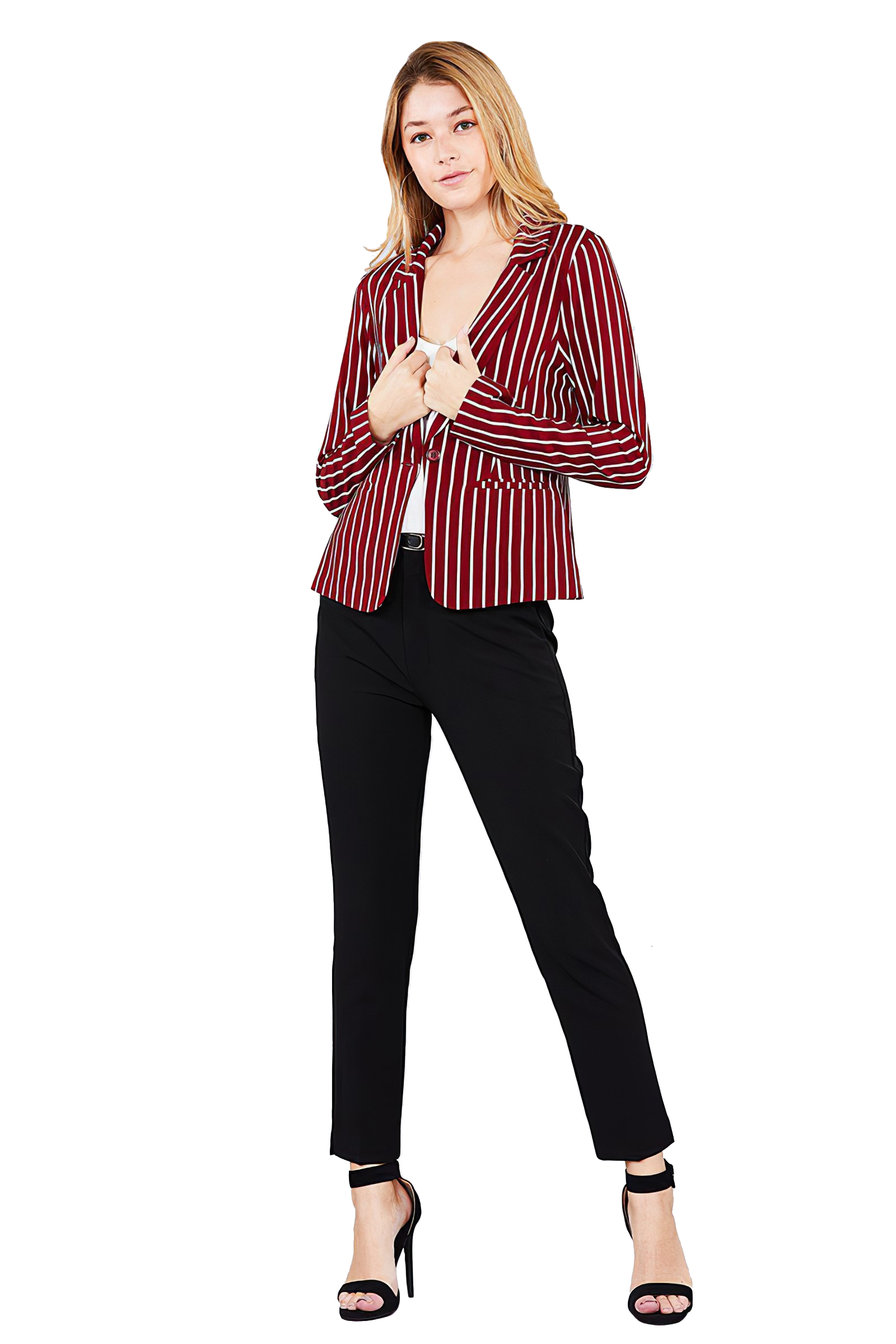 Women-039-s-Juniors-Premium-Stretch-Striped-Long-Sleeve-Jacket thumbnail 14