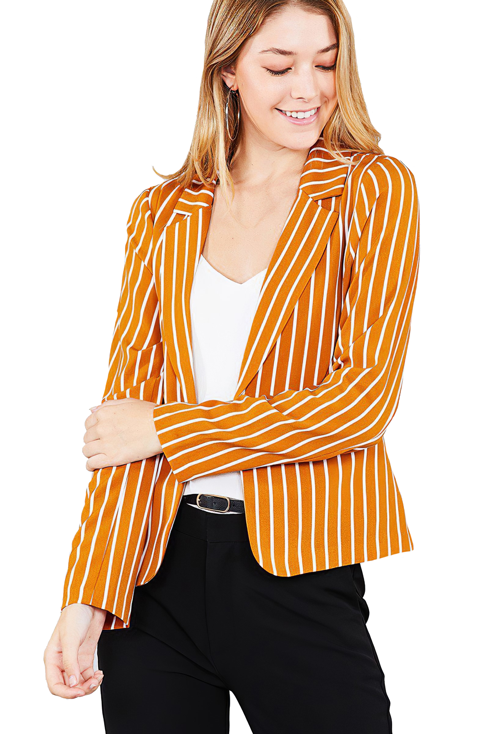 Women-039-s-Juniors-Premium-Stretch-Striped-Long-Sleeve-Jacket thumbnail 11