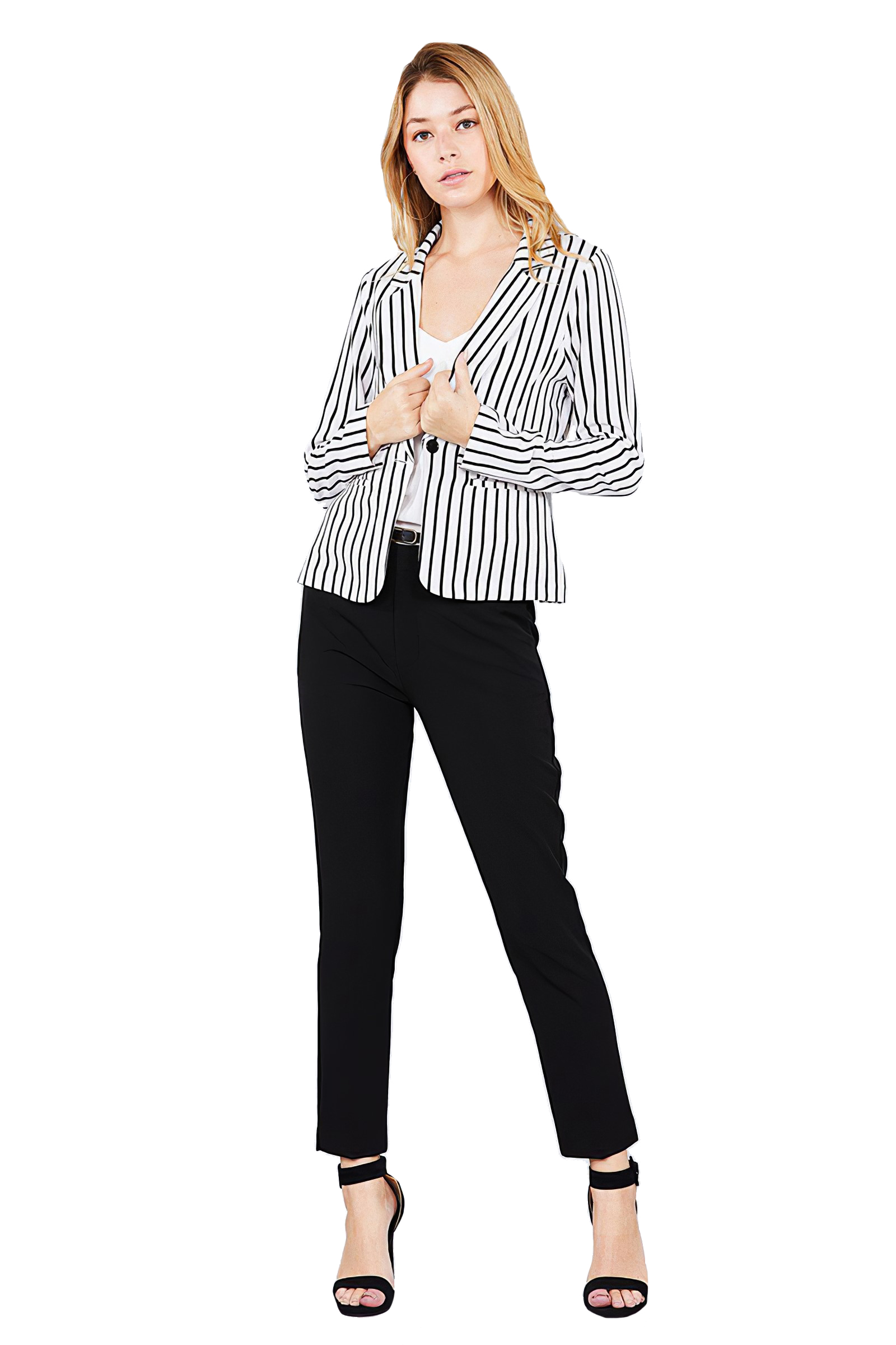 Women-039-s-Juniors-Premium-Stretch-Striped-Long-Sleeve-Jacket thumbnail 18