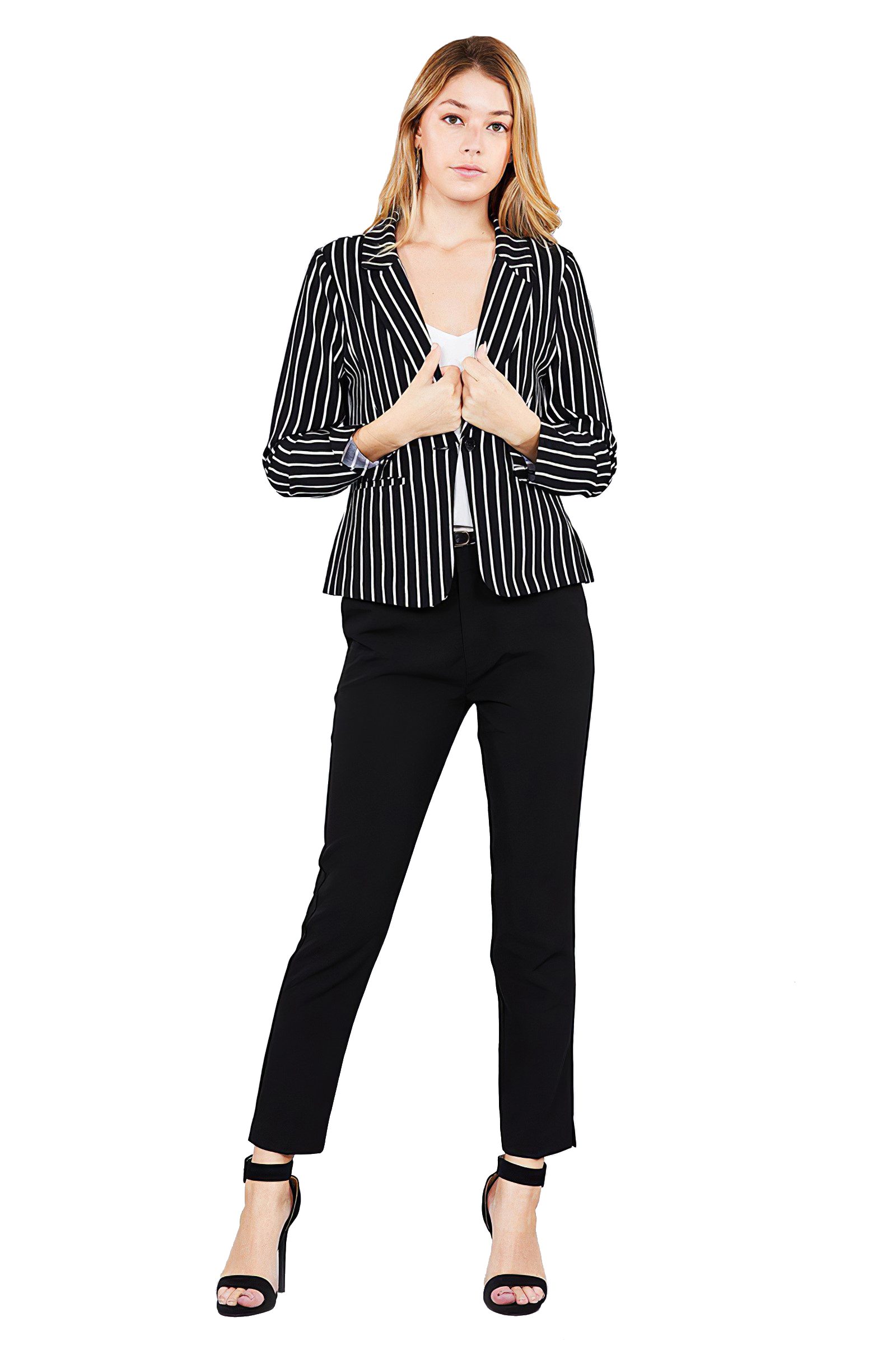 Women-039-s-Juniors-Premium-Stretch-Striped-Long-Sleeve-Jacket thumbnail 7