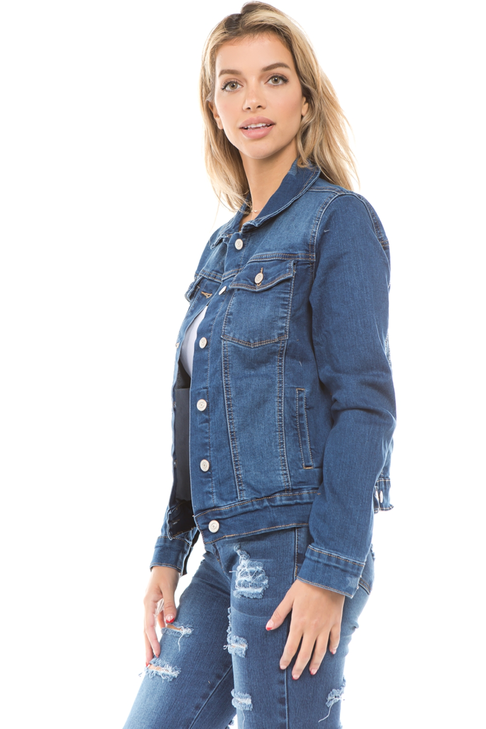 Women-039-s-Juniors-Boyfriend-Premium-Denim-Jackets-Long-Sleeve-Jean-Coats thumbnail 10