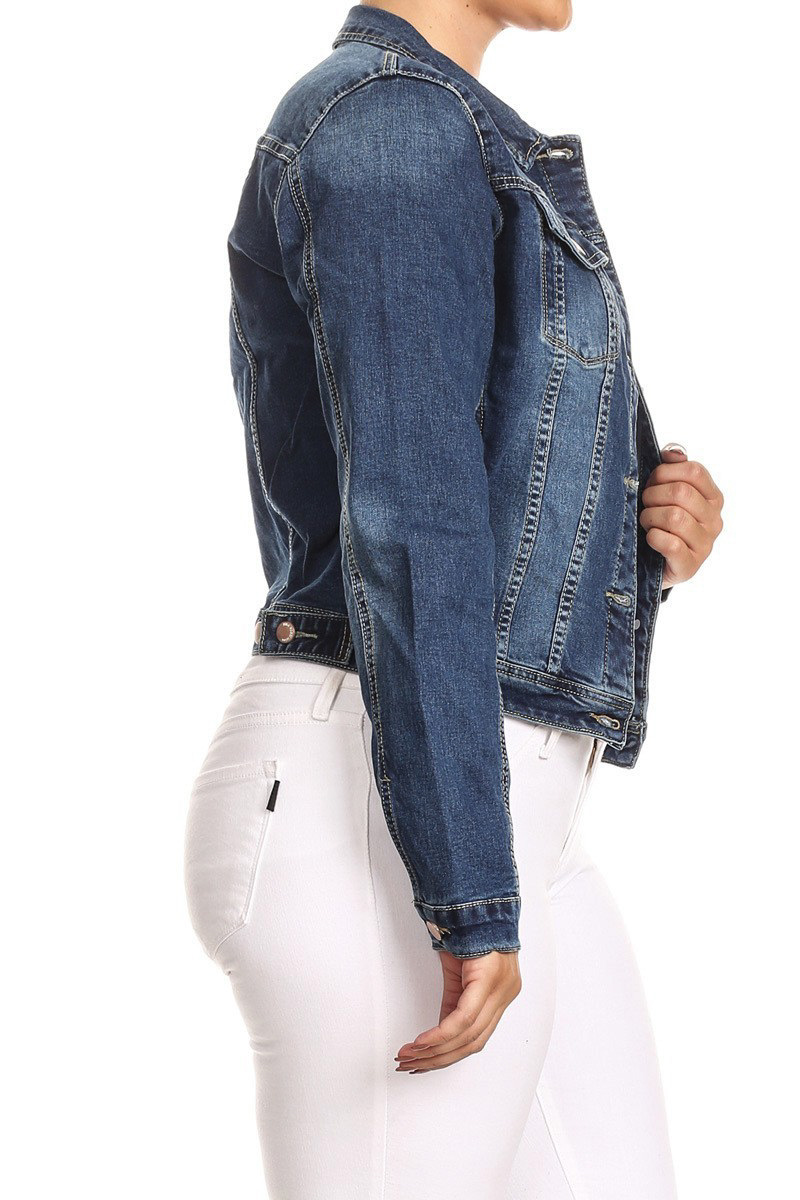 JKT102PS-Women-039-s-Plus-Size-Premium-Denim-Jackets-Long-Sleeve-Loose-Jean-Coats thumbnail 13