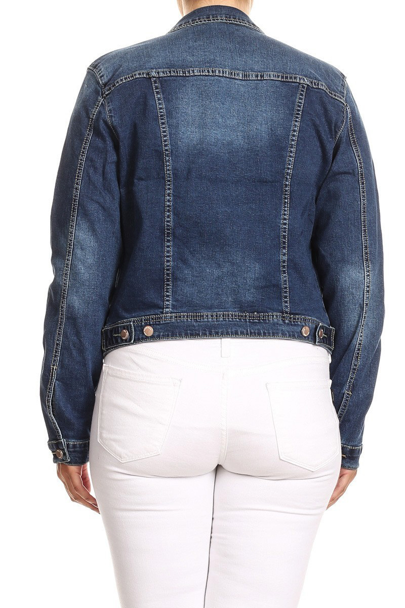 JKT102PS-Women-039-s-Plus-Size-Premium-Denim-Jackets-Long-Sleeve-Loose-Jean-Coats thumbnail 12