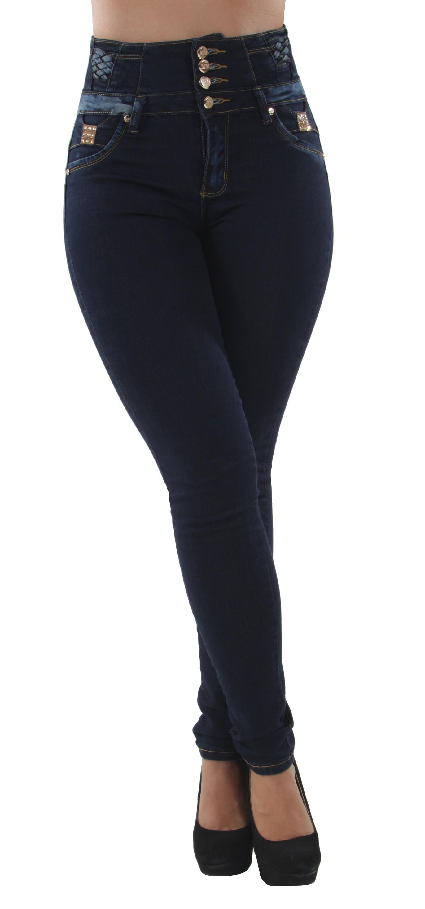 A10065-Colombian-Design-Butt-Lift-High-Elastic-Waist-Plus-Junior-Skinny-Jeans
