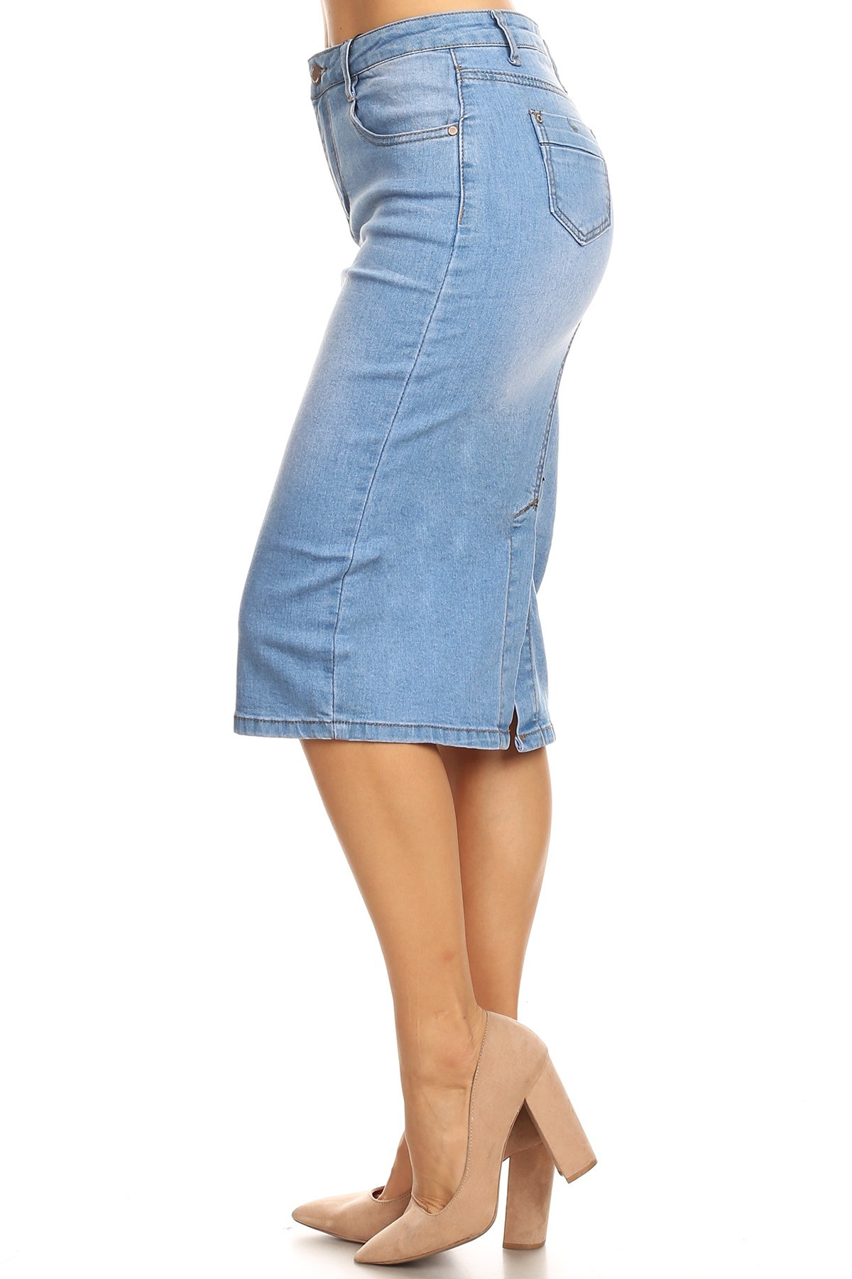 great deals cheap for sale lace up in Details about Womens Plus/Juniors Mid Waist Below Knee Length Denim Skirt  in Pencil Silhouette