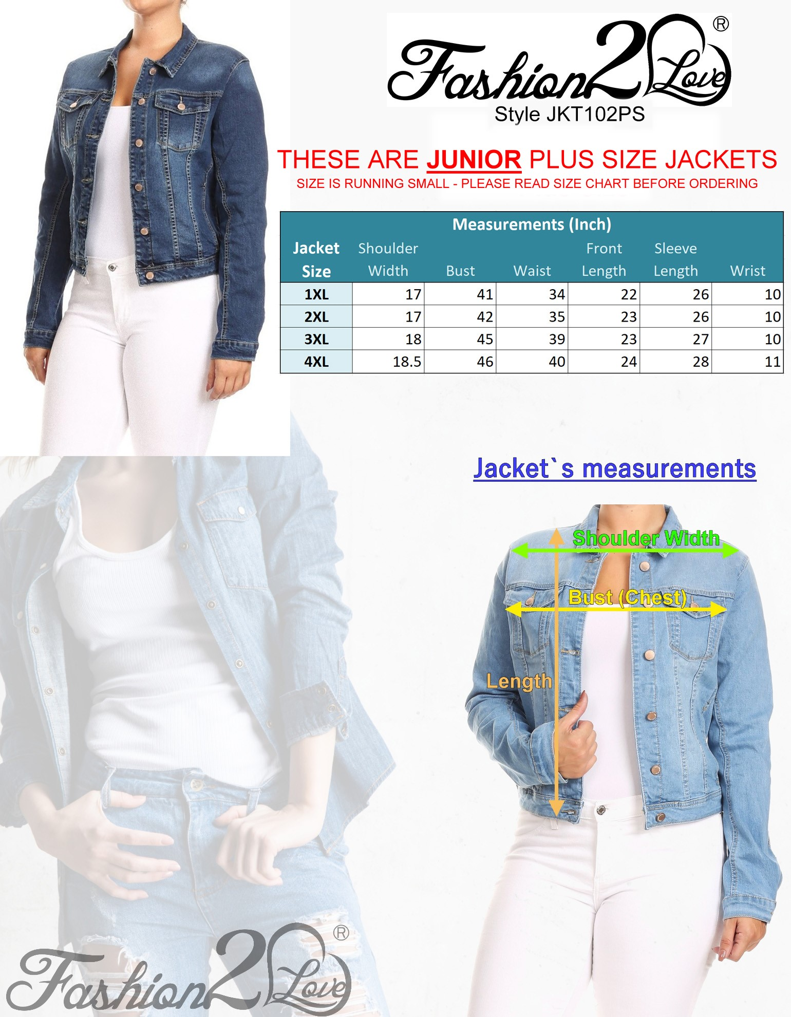 JKT102PS-Women-039-s-Plus-Size-Premium-Denim-Jackets-Long-Sleeve-Loose-Jean-Coats thumbnail 10