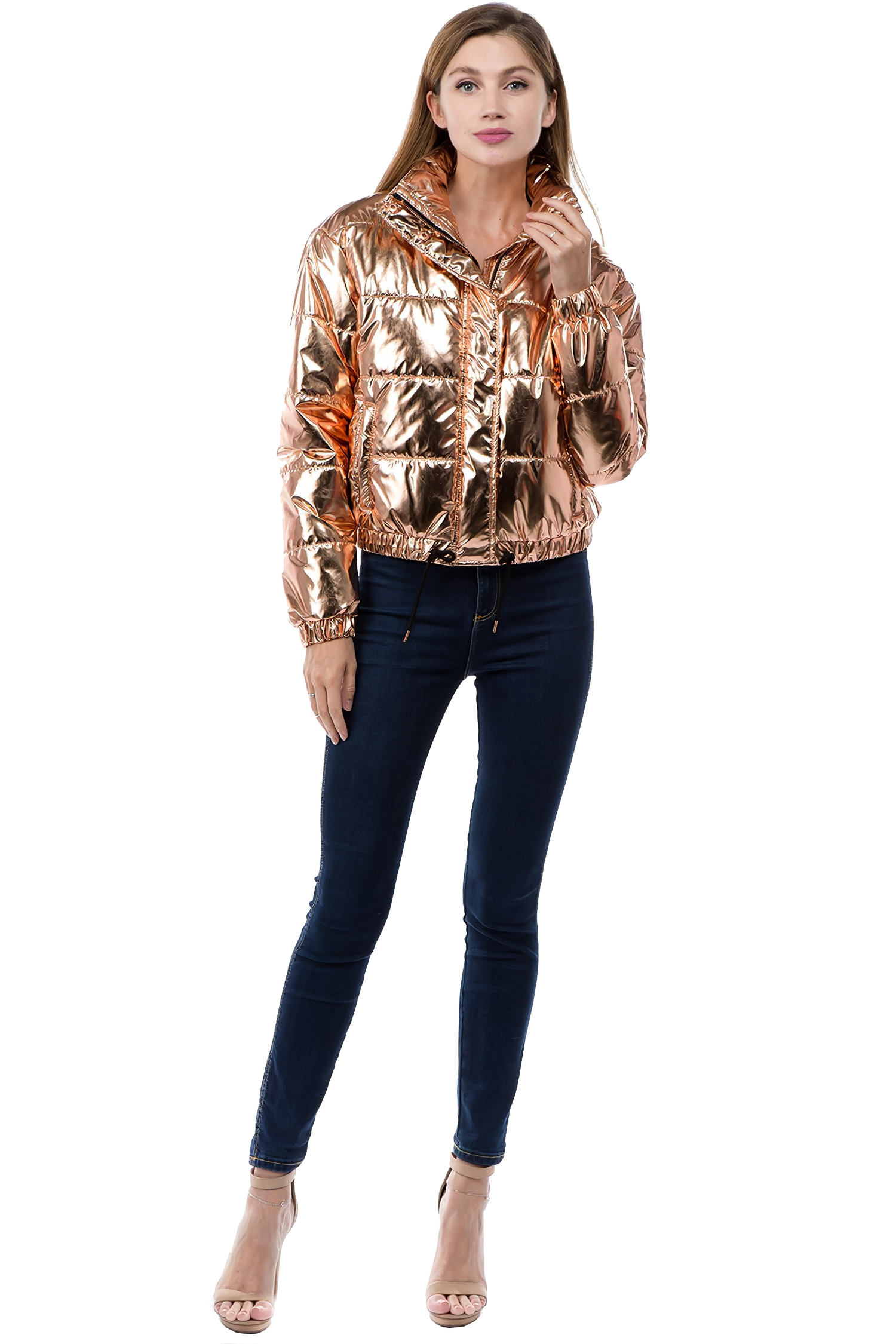 Women-039-s-Juniors-Metallic-Quilted-Poly-Filled-Winter-Fall-Fashion-Jacket-Coat thumbnail 8