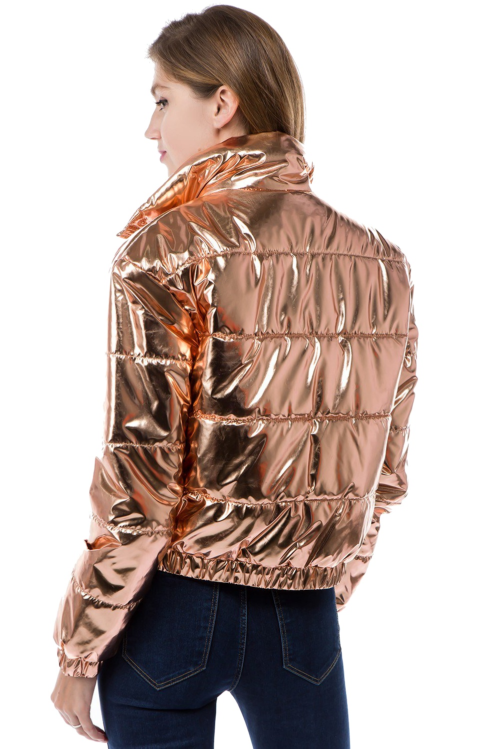 Women-039-s-Juniors-Metallic-Quilted-Poly-Filled-Winter-Fall-Fashion-Jacket-Coat thumbnail 7