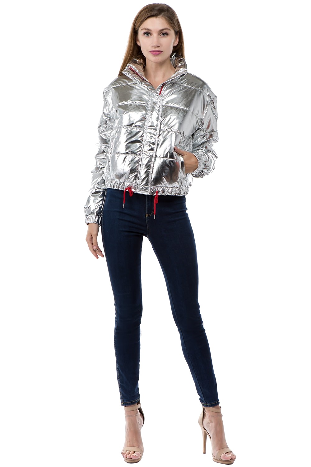 Women-039-s-Juniors-Metallic-Quilted-Poly-Filled-Winter-Fall-Fashion-Jacket-Coat thumbnail 12
