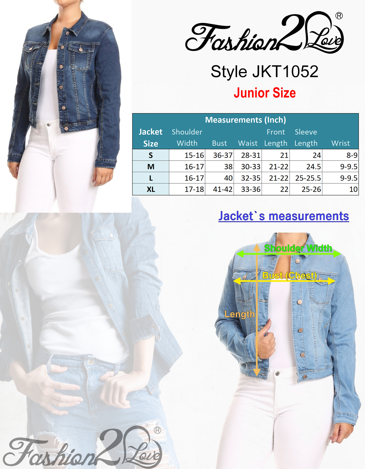 Women-039-s-Premium-Denim-Jackets-Long-Sleeve-Jean-Coats thumbnail 13