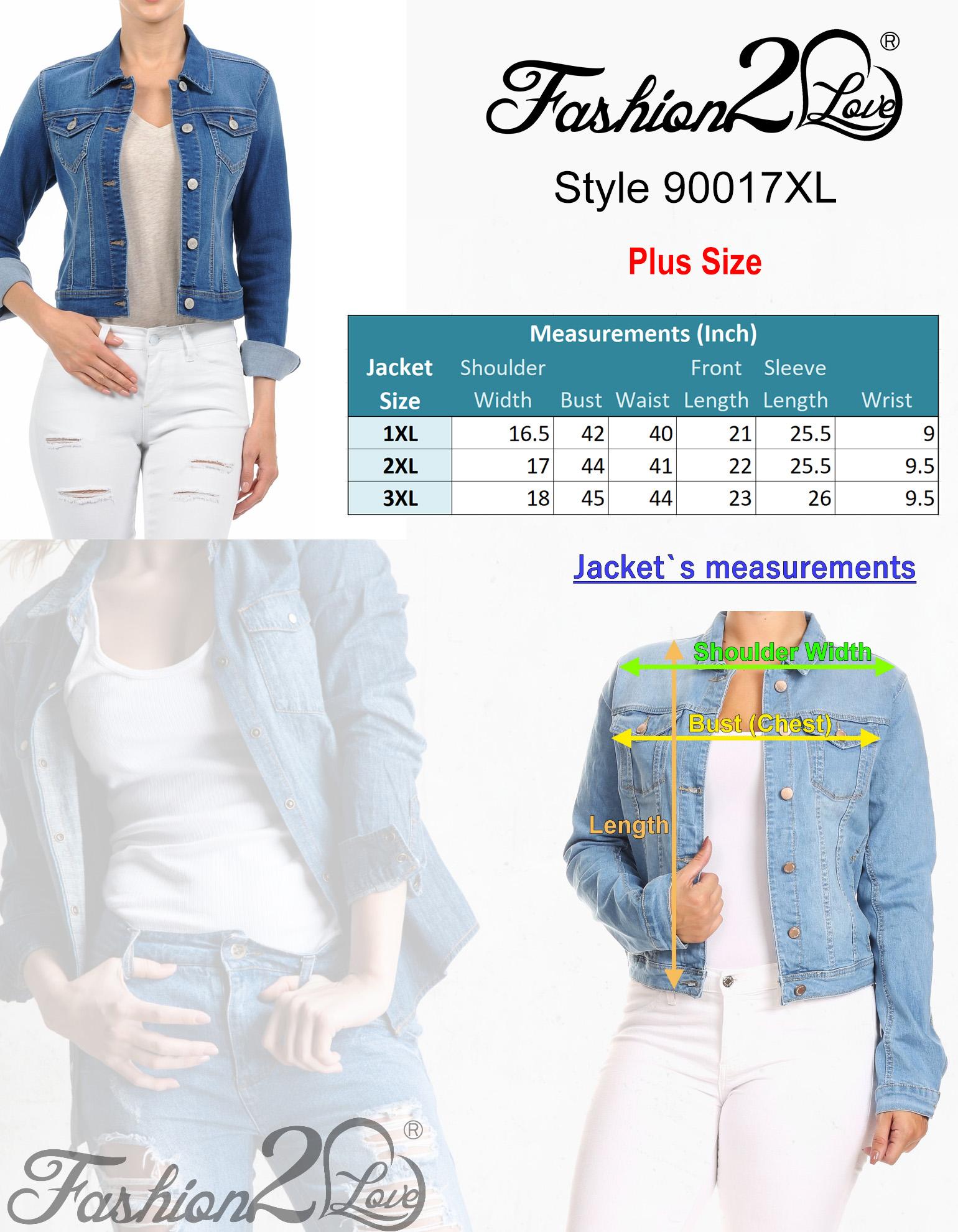 Women-039-s-Plus-Size-Cropped-Denim-Jackets-Long-Sleeve-Jean-Coats thumbnail 7