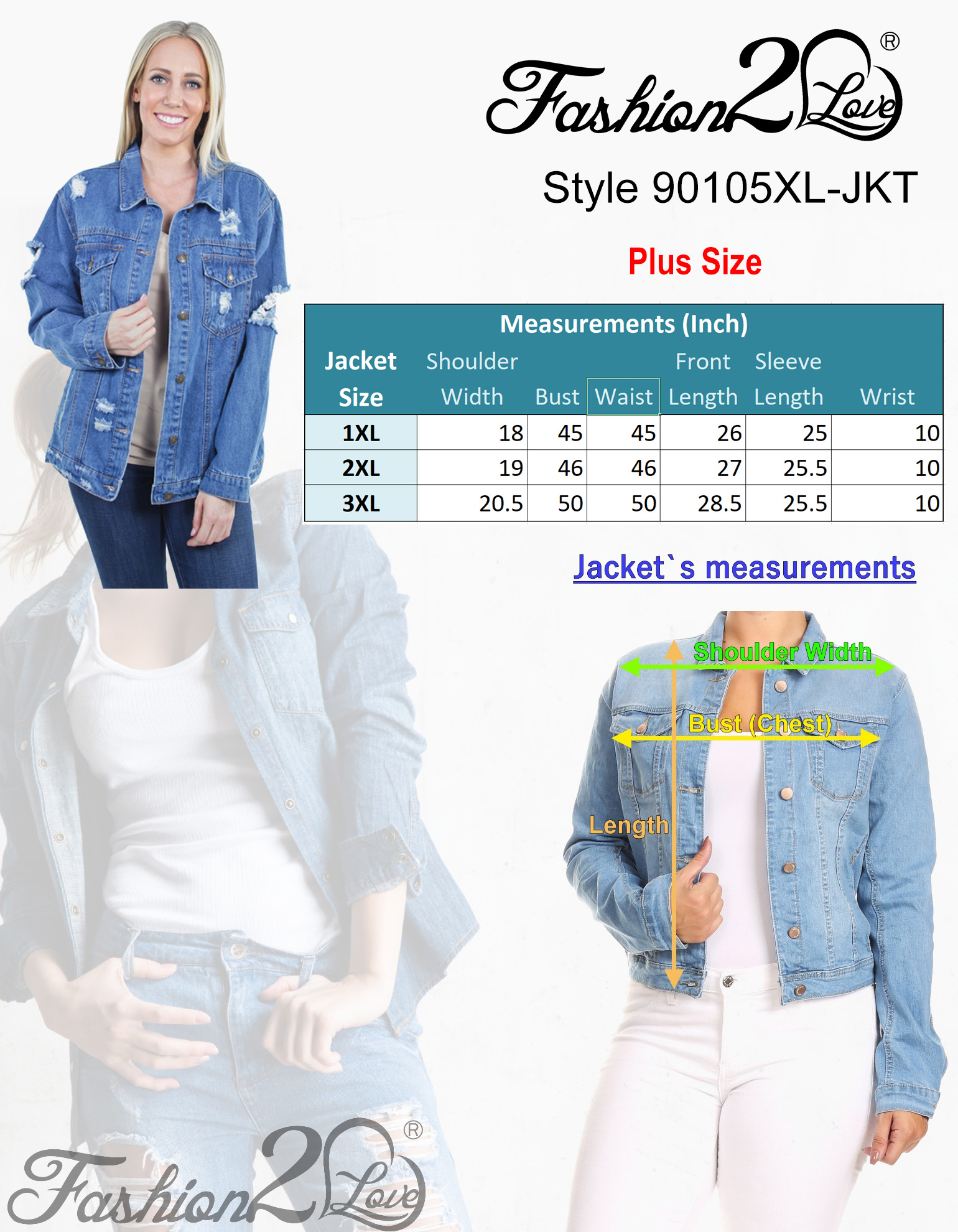 Women-039-s-Plus-Size-Oversize-Ripped-Denim-Jackets-Long-Sleeve-Jean-Coats thumbnail 10