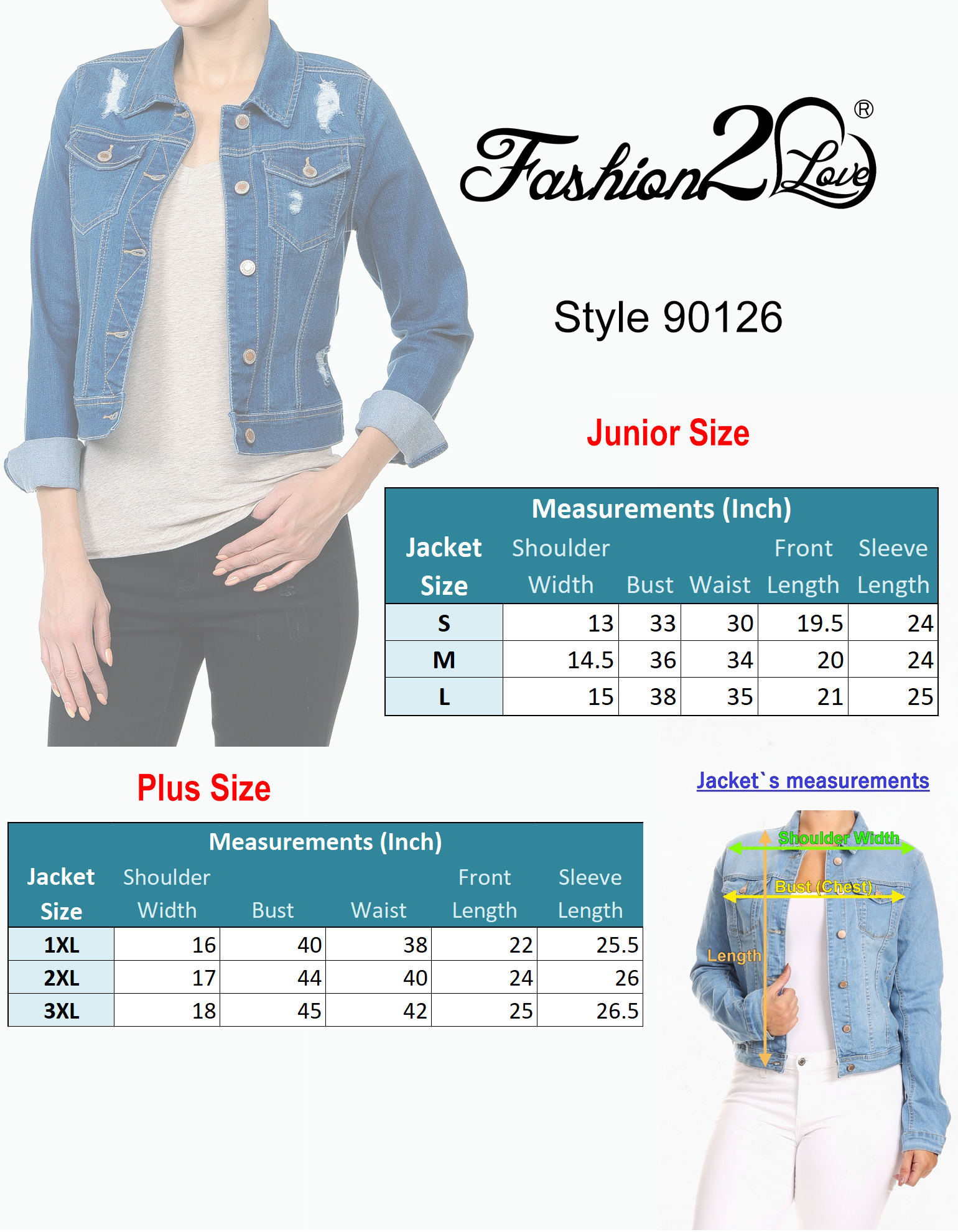 Women-s-Plus-Junior-size-Cropped-Ripped-Denim-Jackets-Long-Sleeve-Jean-Coats thumbnail 9