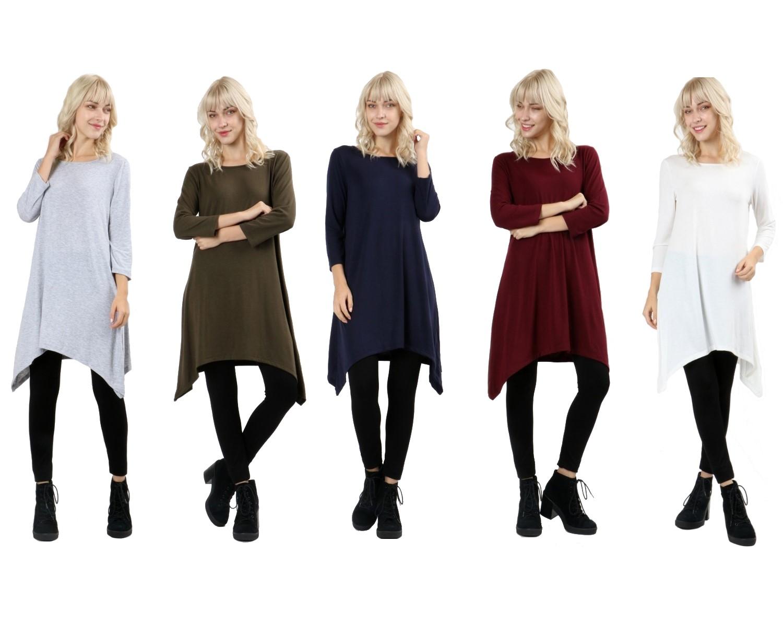 RT9961-Women-s-3-4-Sleeve-Sharkbite-Asymmetrical-Hem-Trapeze-Dress-Tunic-Top thumbnail 9