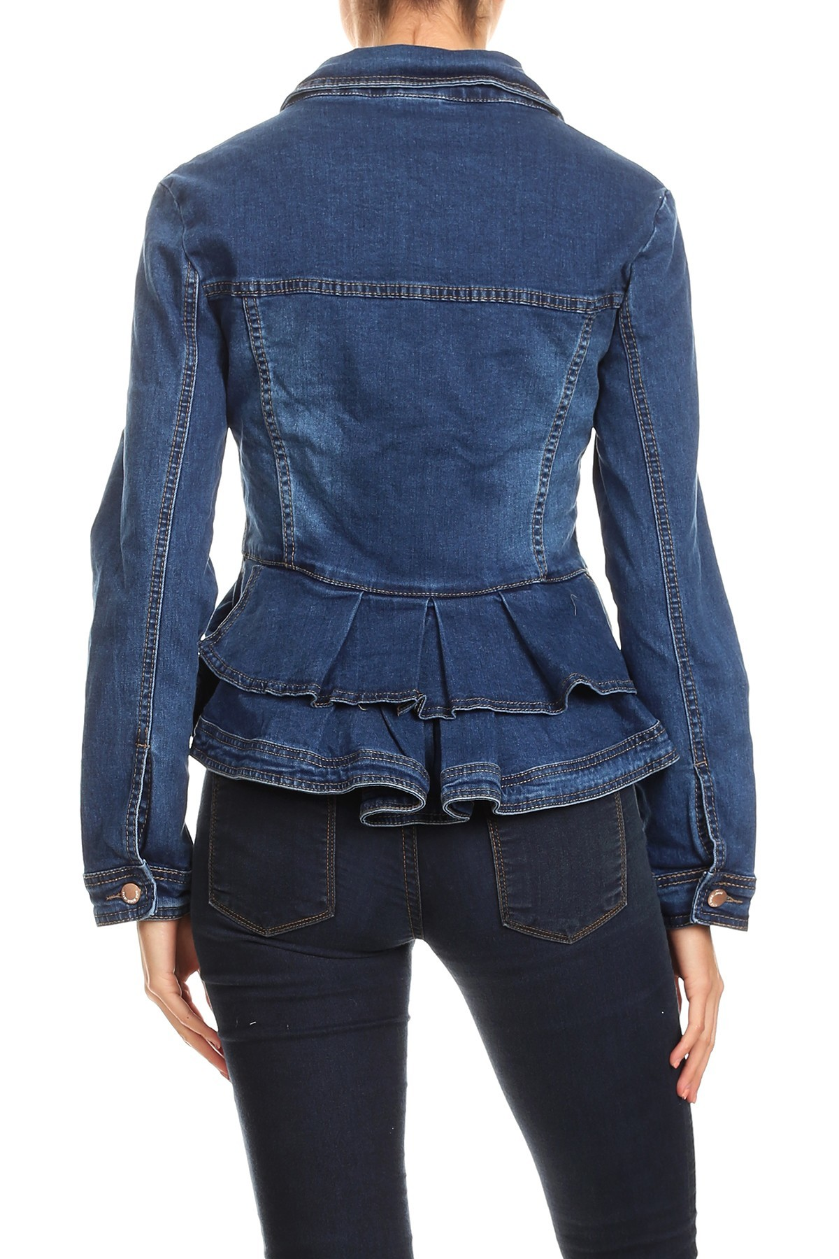Women-039-s-Juniors-Premium-Denim-Peplum-Bodice-Long-Sleeve-Jacket thumbnail 10