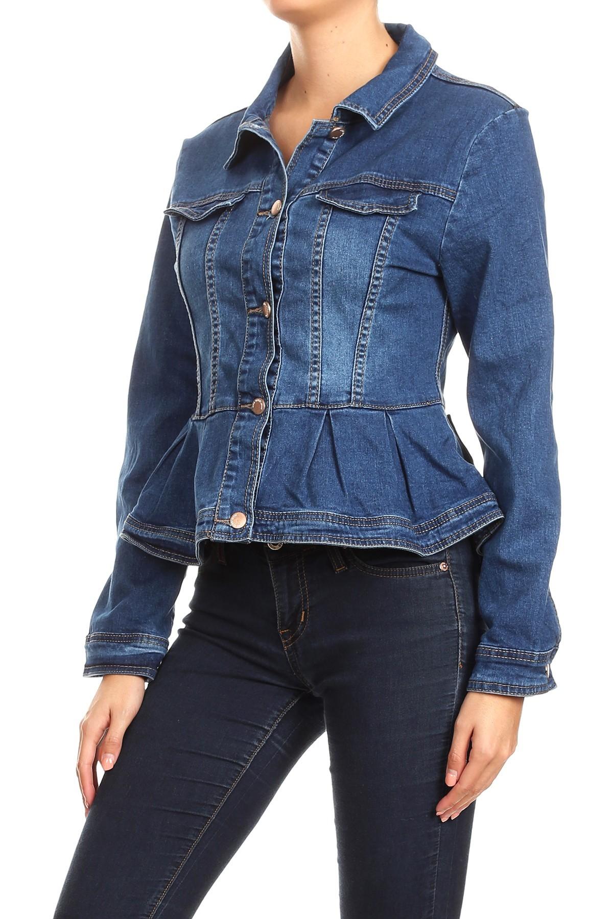 Women-039-s-Juniors-Premium-Denim-Peplum-Bodice-Long-Sleeve-Jacket thumbnail 8