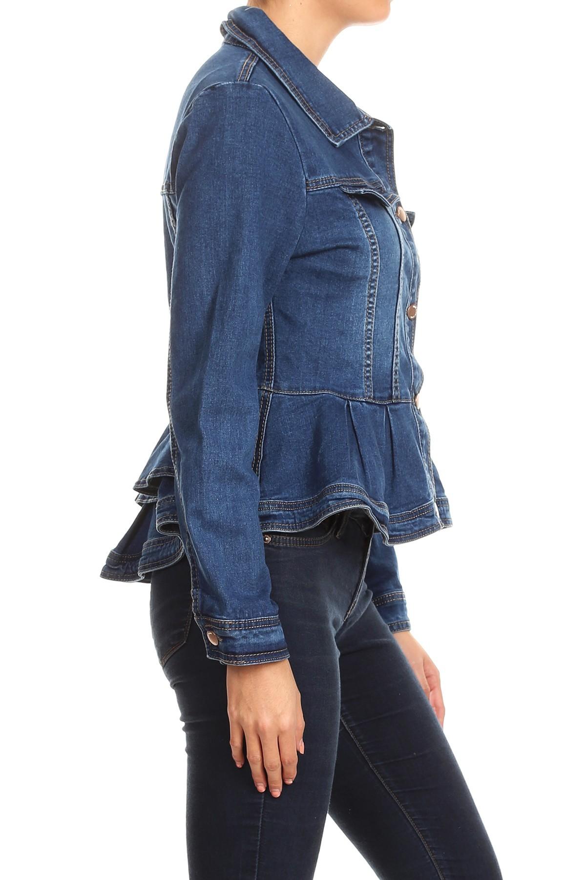 Women-039-s-Juniors-Premium-Denim-Peplum-Bodice-Long-Sleeve-Jacket thumbnail 9