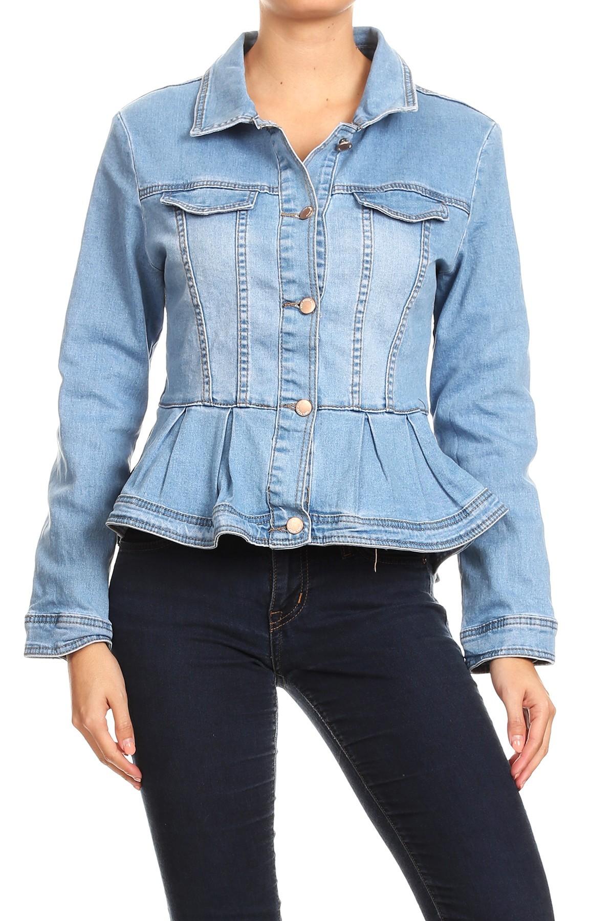 Women-039-s-Juniors-Premium-Denim-Peplum-Bodice-Long-Sleeve-Jacket thumbnail 14