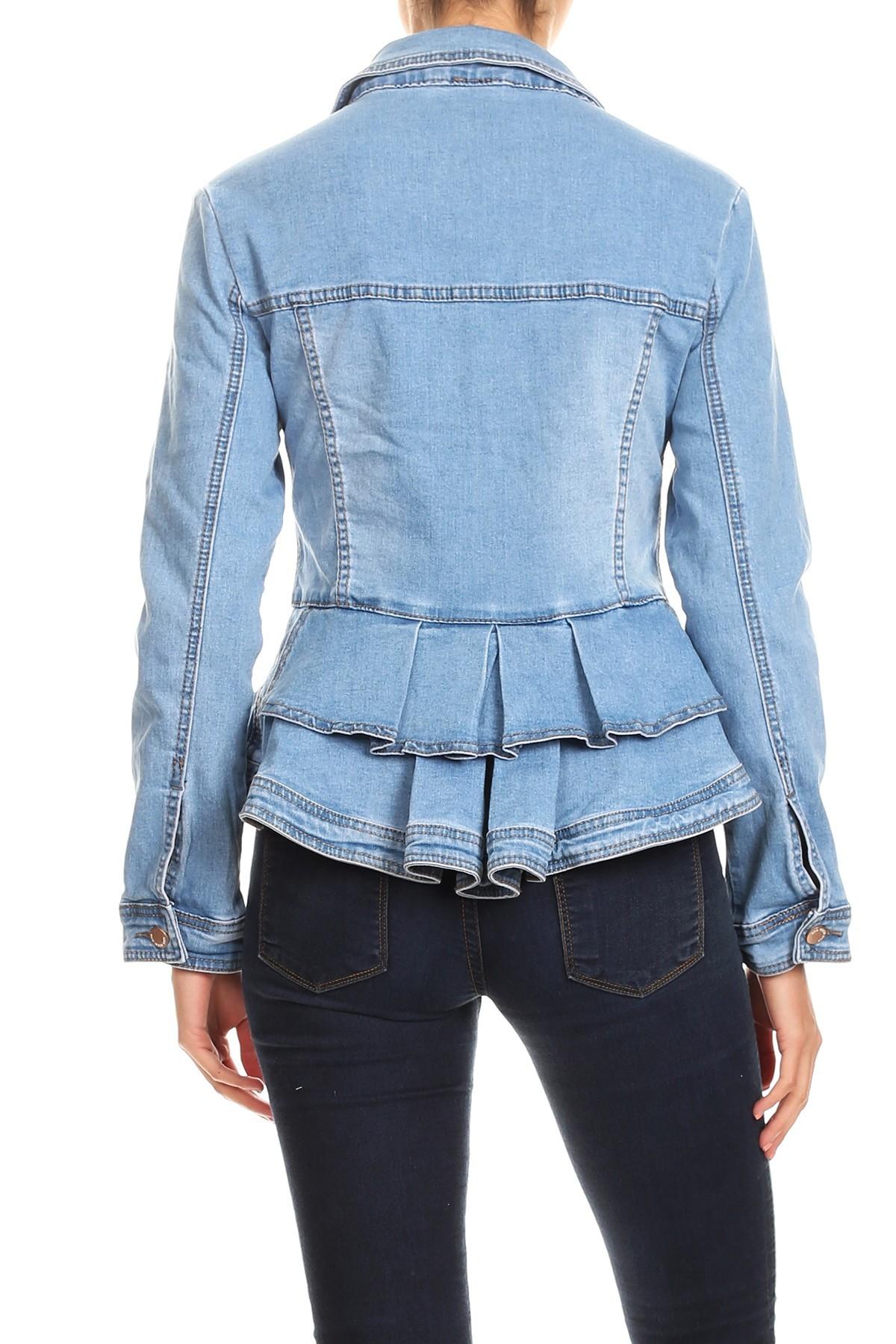 Women-039-s-Juniors-Premium-Denim-Peplum-Bodice-Long-Sleeve-Jacket thumbnail 16