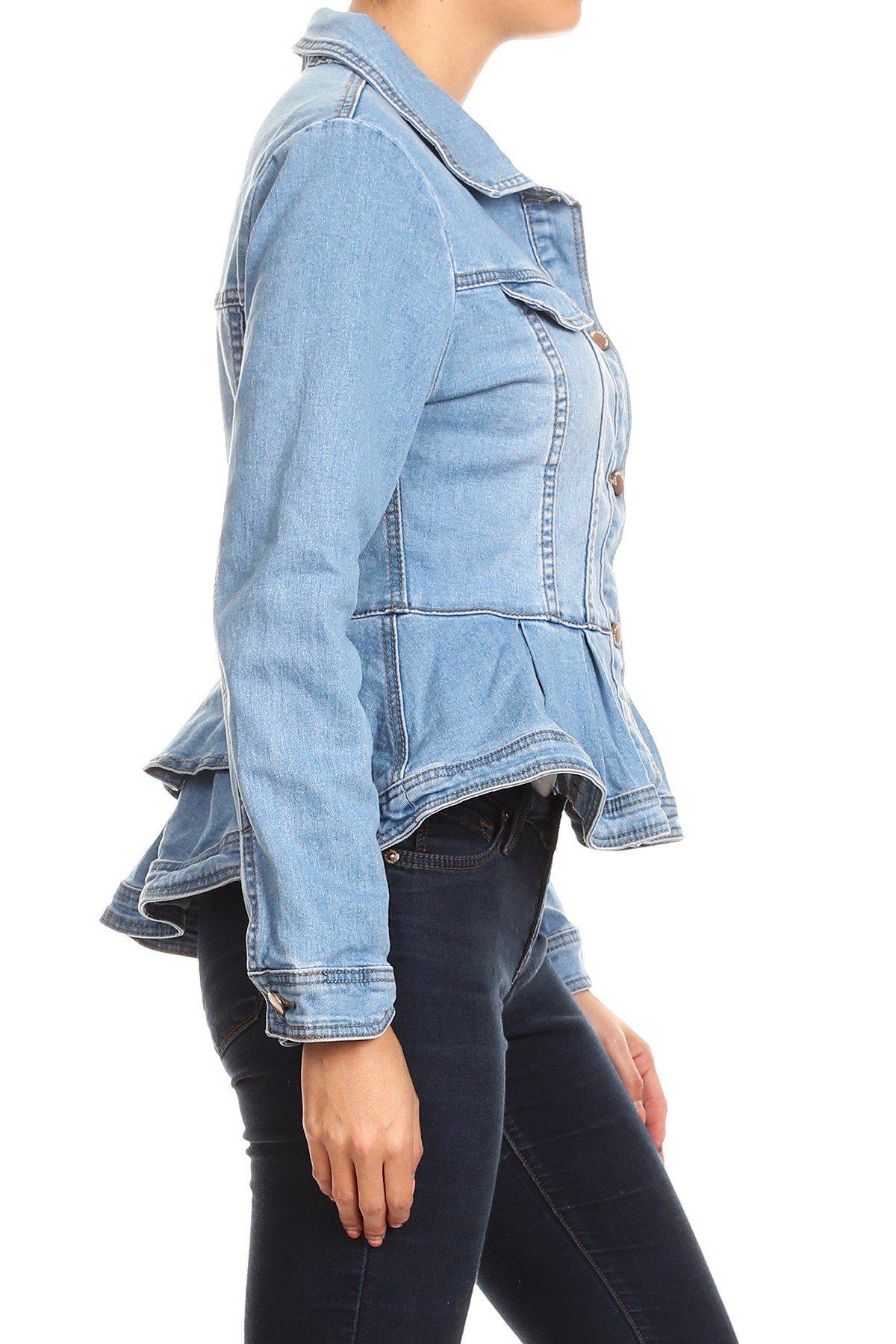 Women-039-s-Juniors-Premium-Denim-Peplum-Bodice-Long-Sleeve-Jacket thumbnail 15