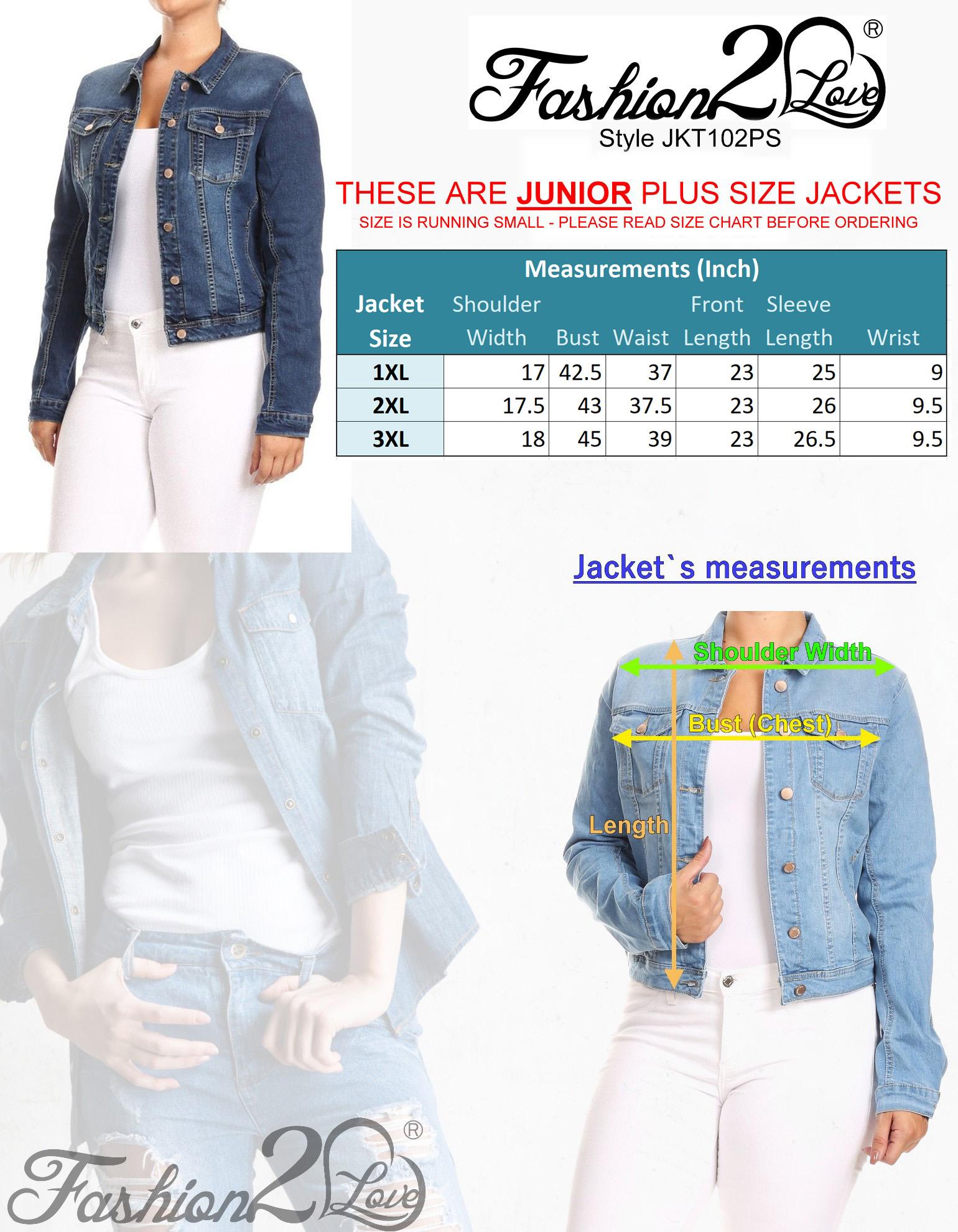 JKT102PS-Women-039-s-Plus-Size-Premium-Denim-Jackets-Long-Sleeve-Loose-Jean-Coats thumbnail 14