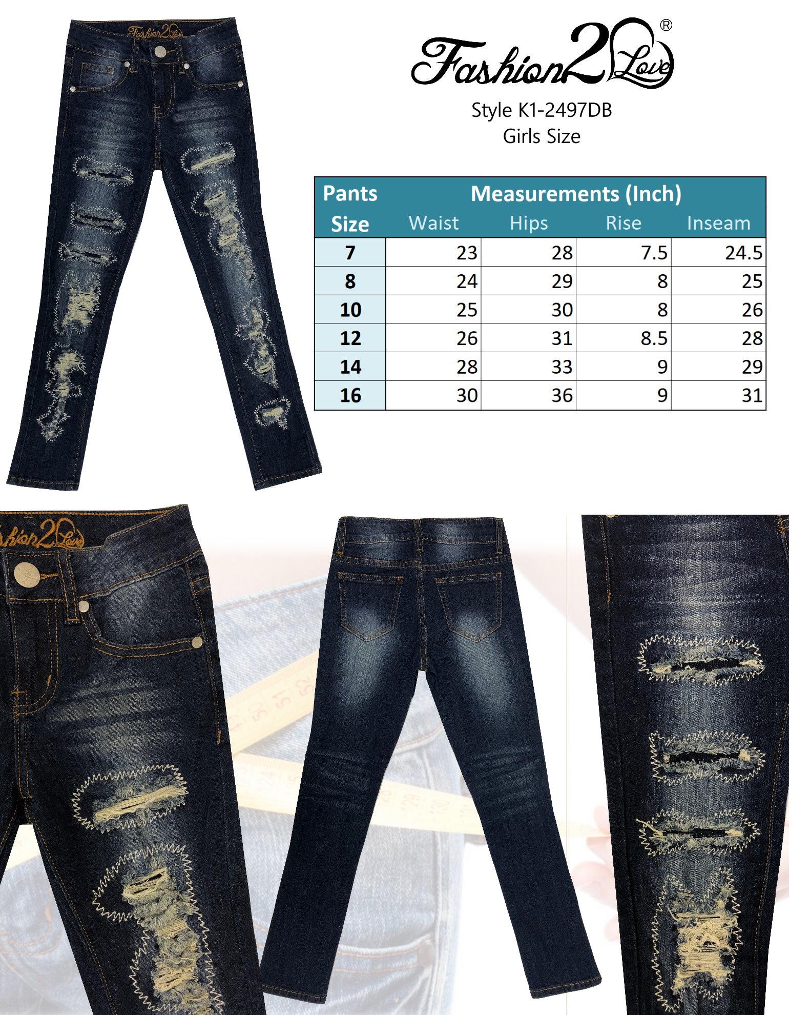 S 7H102 Girls' Stretch 5 Pockets Premium Skinny jeans