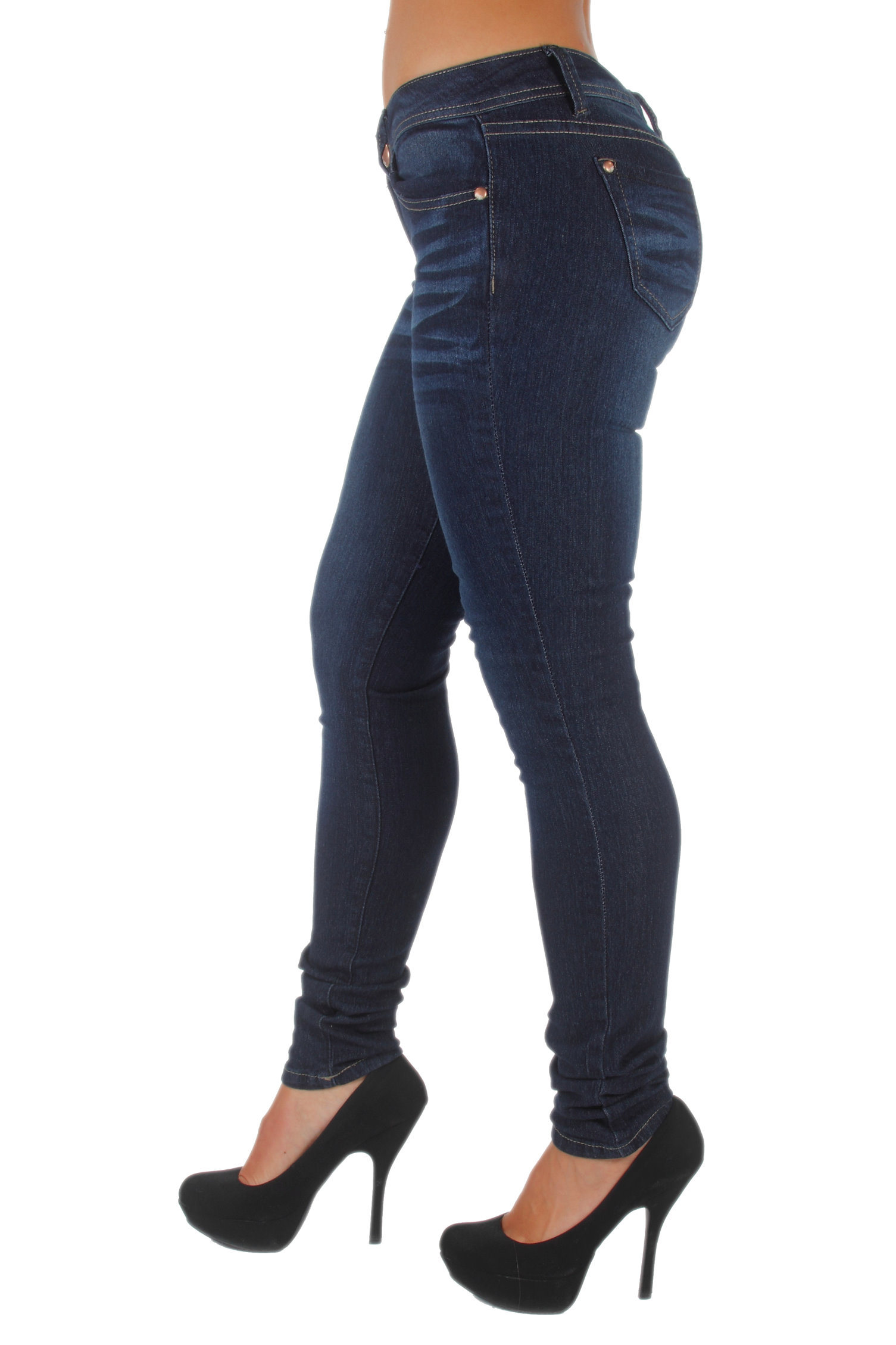 Plus-Size-Classic-5-Pockets-Washed-Skinny-Jeans thumbnail 9