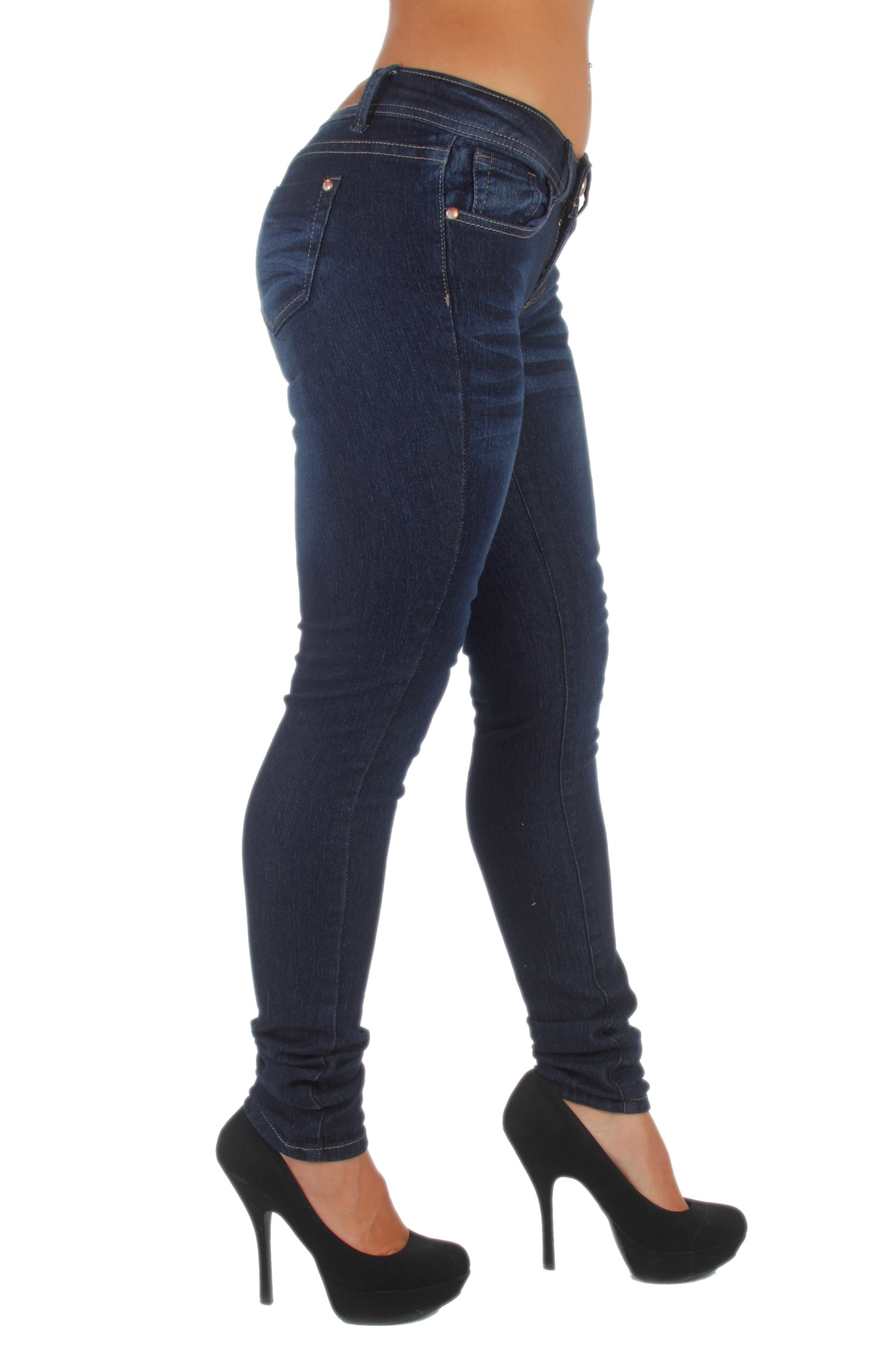 Plus-Size-Classic-5-Pockets-Washed-Skinny-Jeans thumbnail 11