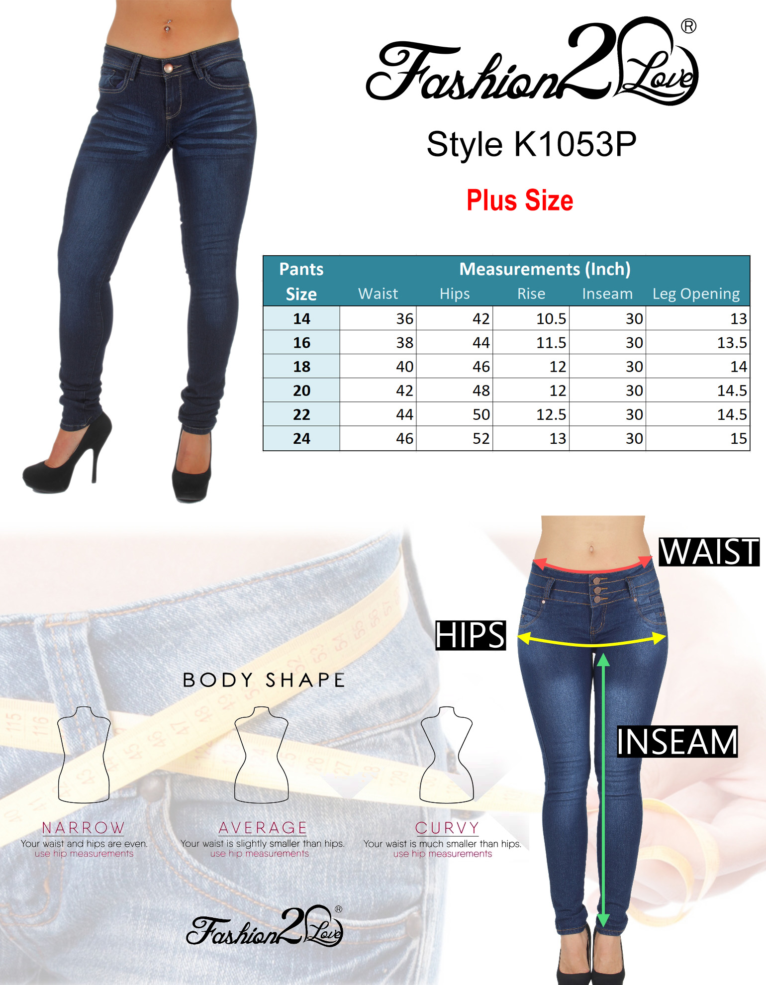 Plus-Size-Classic-5-Pockets-Washed-Skinny-Jeans thumbnail 12