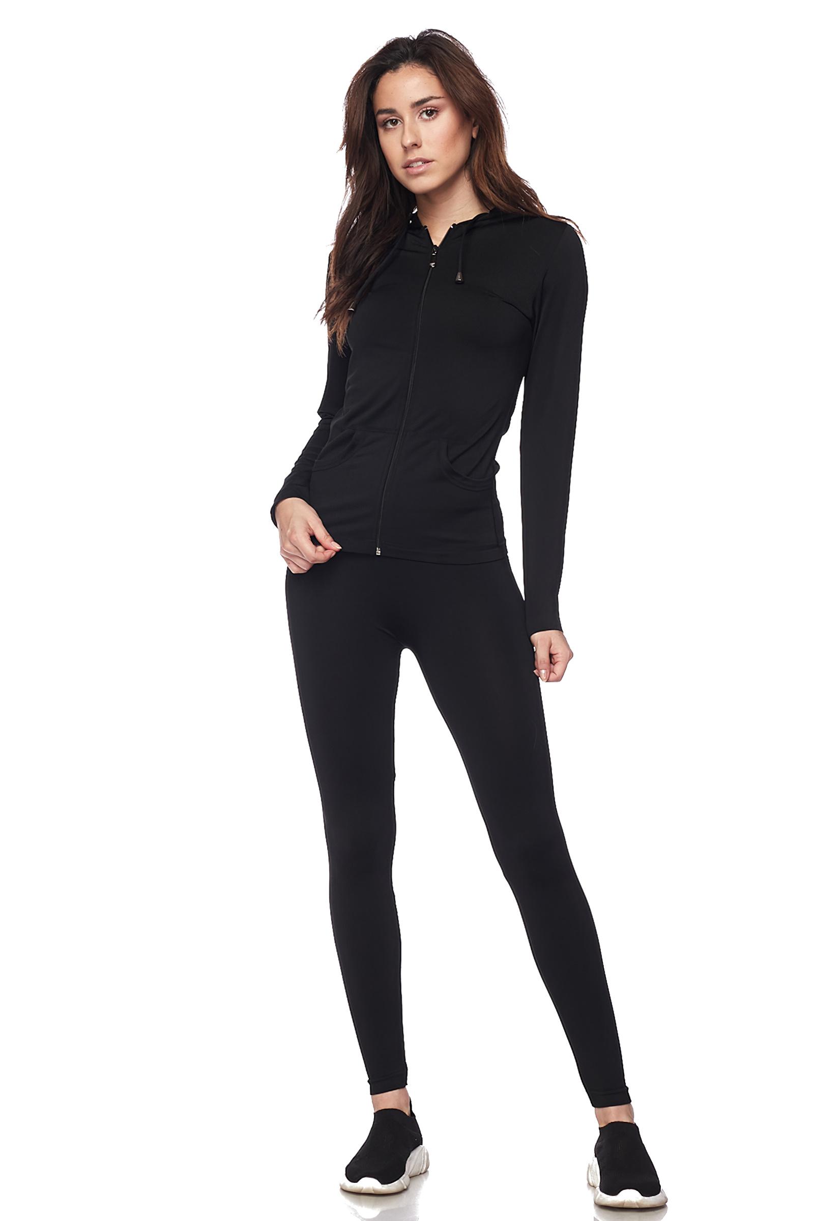 Women-039-s-Juniors-Active-Set-Wear-Zip-Up-Hoodie-and-Legging thumbnail 12