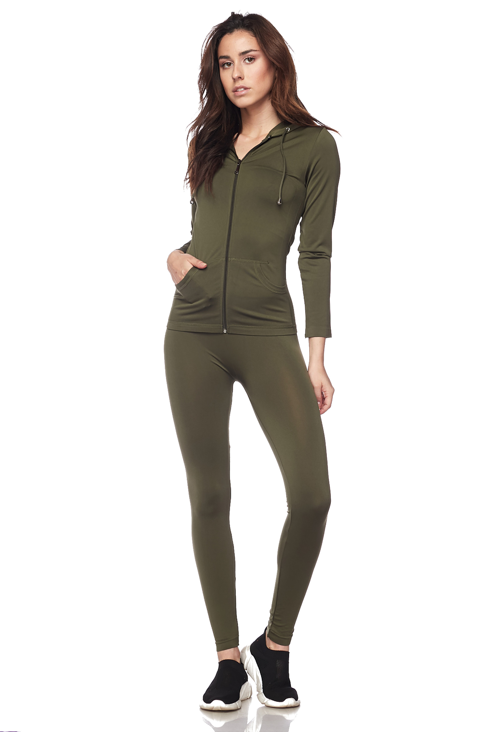 Women-039-s-Juniors-Active-Set-Wear-Zip-Up-Hoodie-and-Legging thumbnail 32