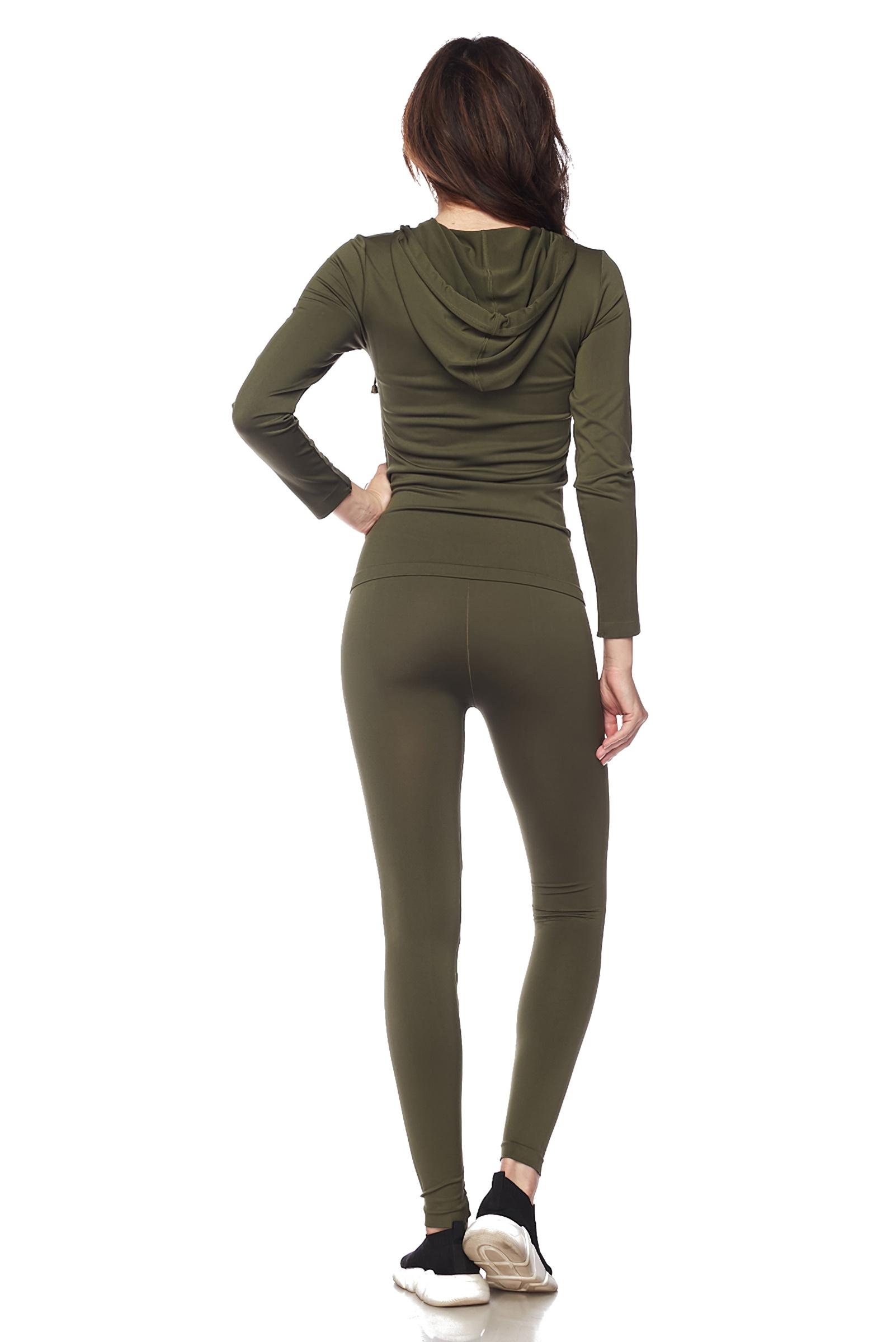 Women-039-s-Juniors-Active-Set-Wear-Zip-Up-Hoodie-and-Legging thumbnail 35