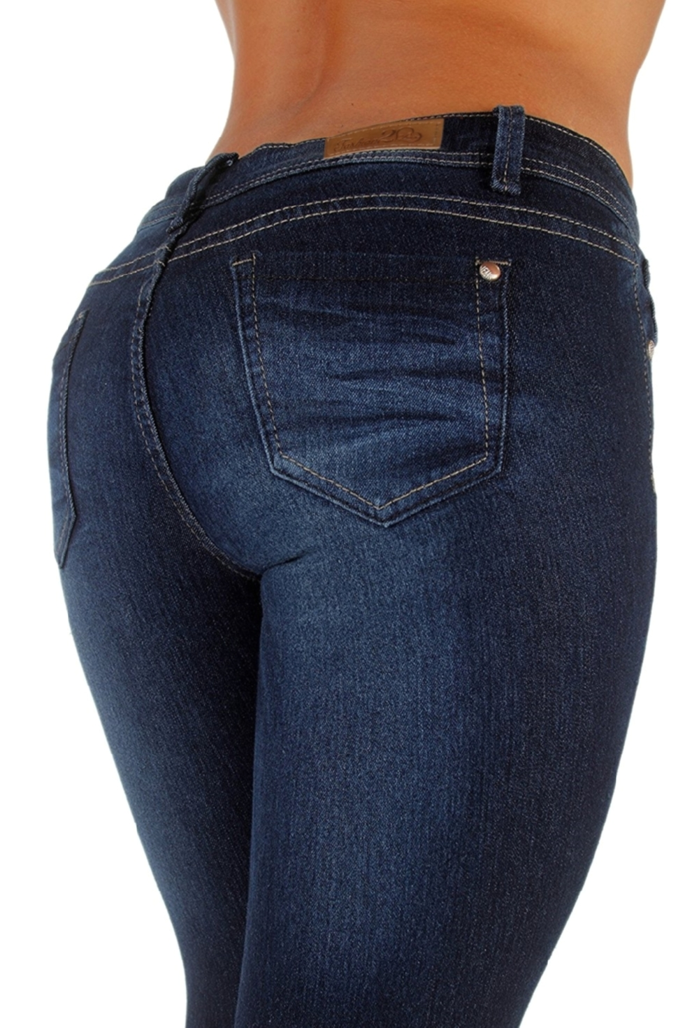 Plus-Size-Classic-5-Pockets-Washed-Skinny-Jeans thumbnail 8